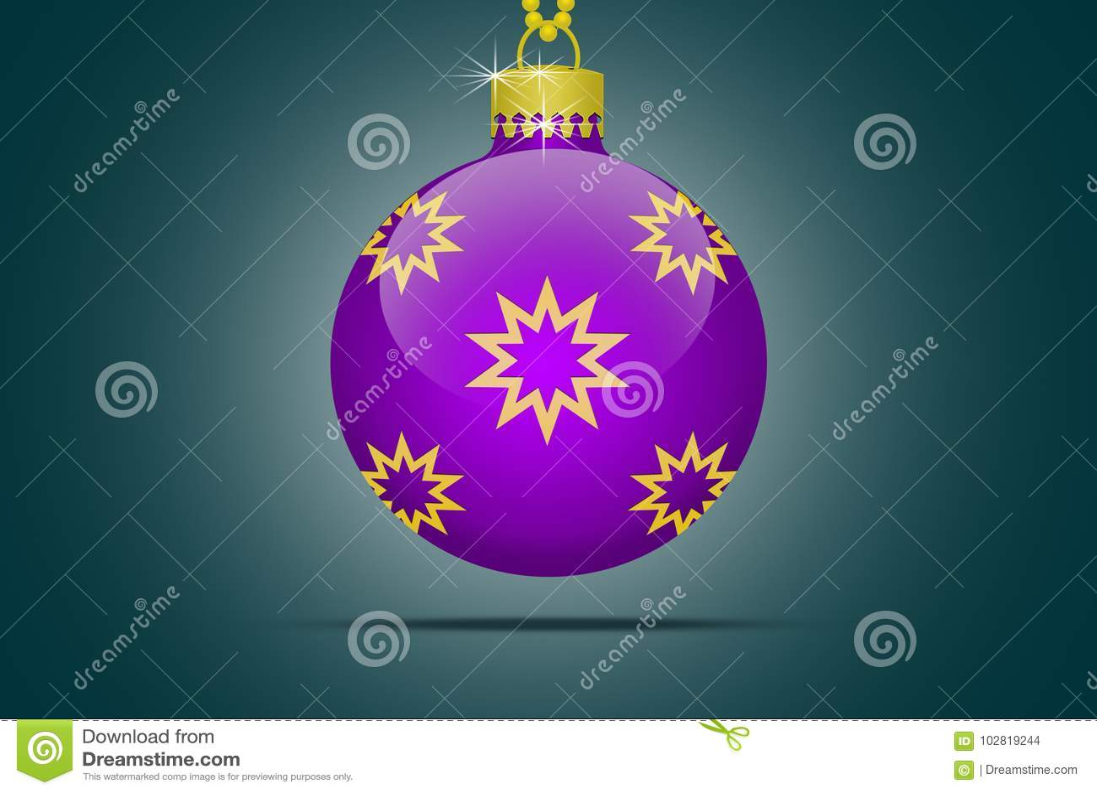 Um ornamento da bola da árvore de Natal do lila em um fundo azul