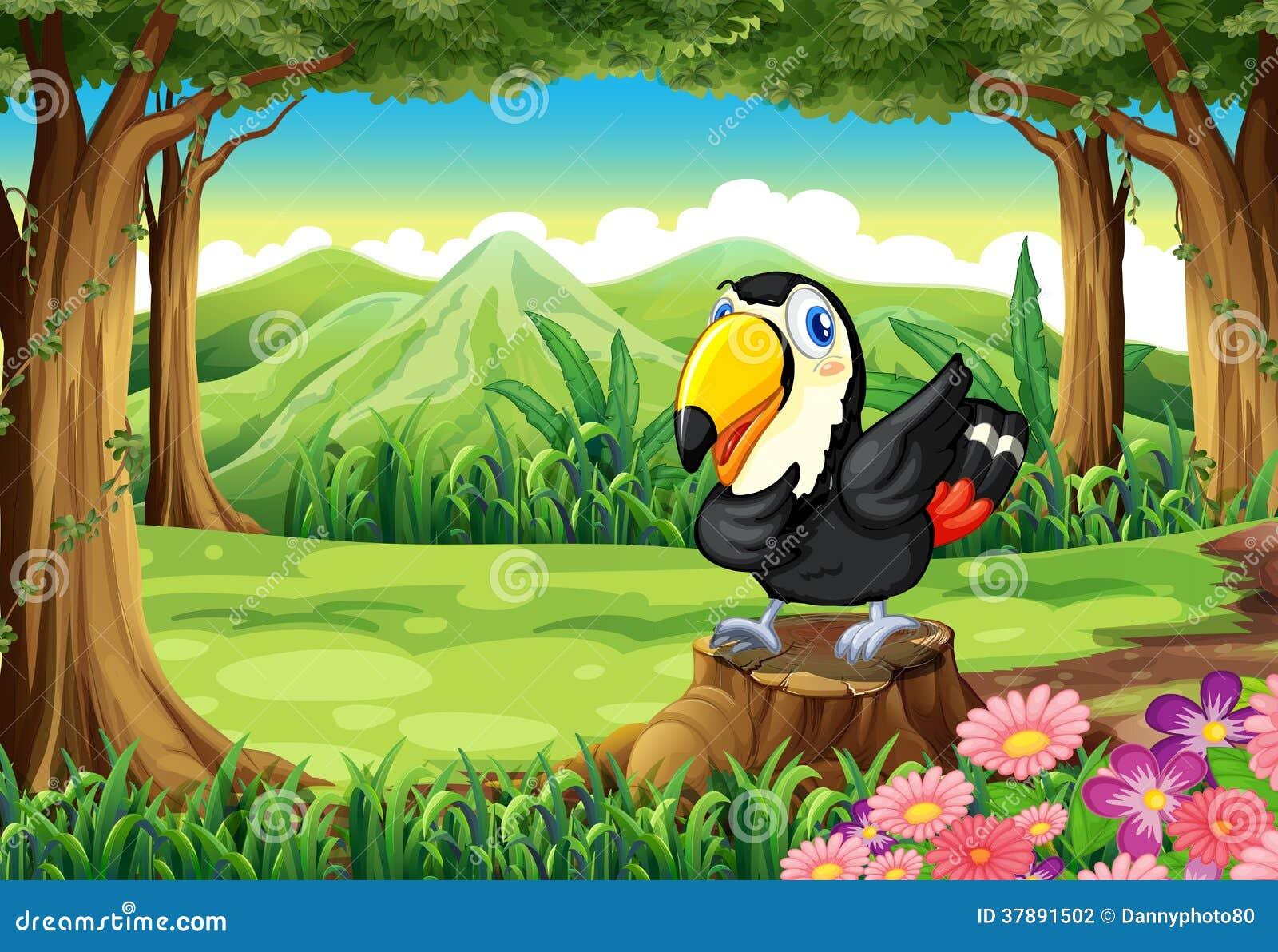 Um pássaro acima do coto perto das flores na floresta