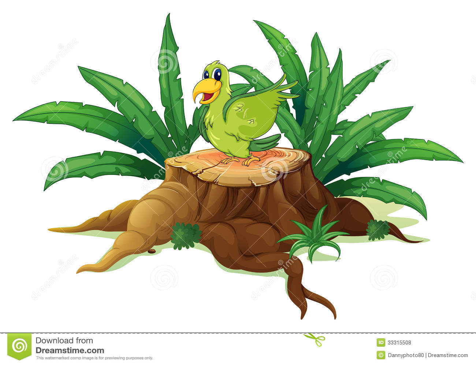 Um pássaro verde acima de um tronco