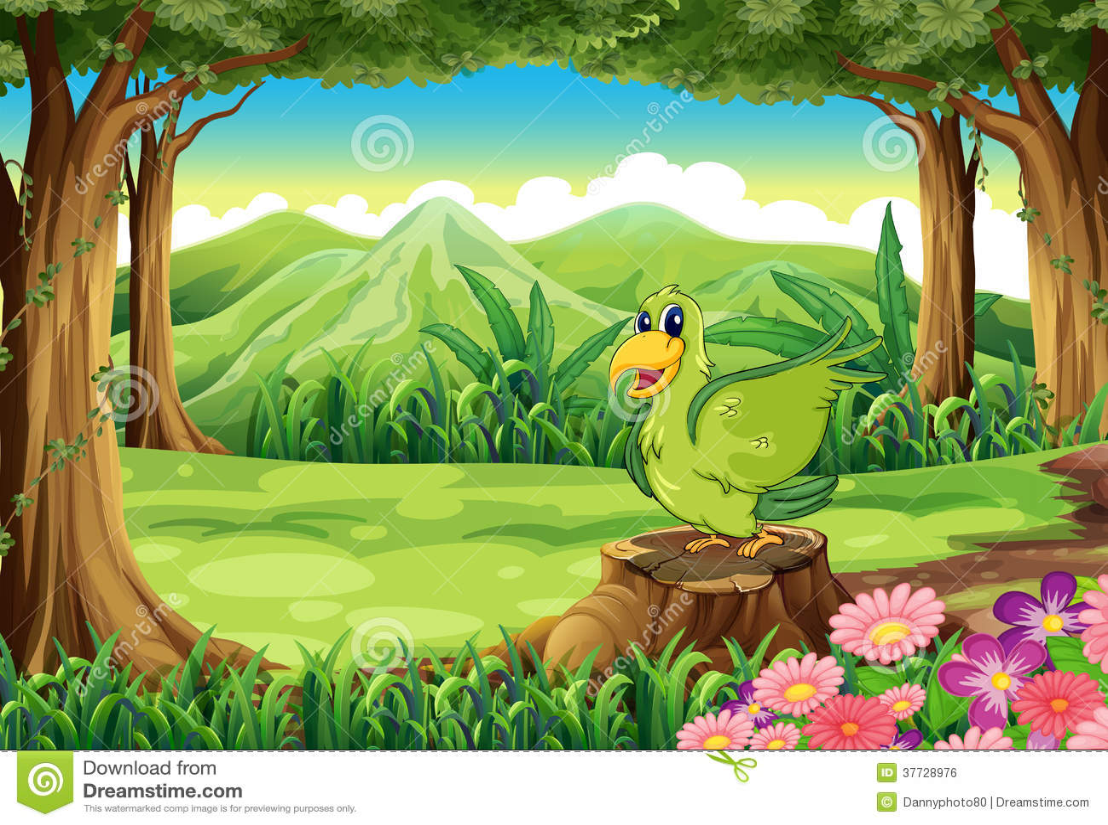 Um pássaro verde acima do coto na floresta