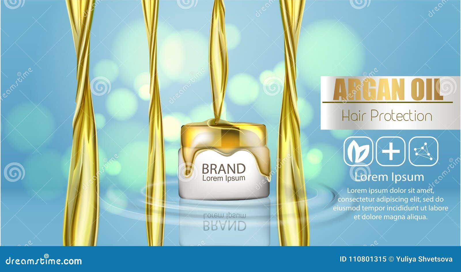 Um pacote realístico do cosmético do molde respingo 3d do óleo líquido Espirrando o óleo do argão, produto dos cosméticos da prot