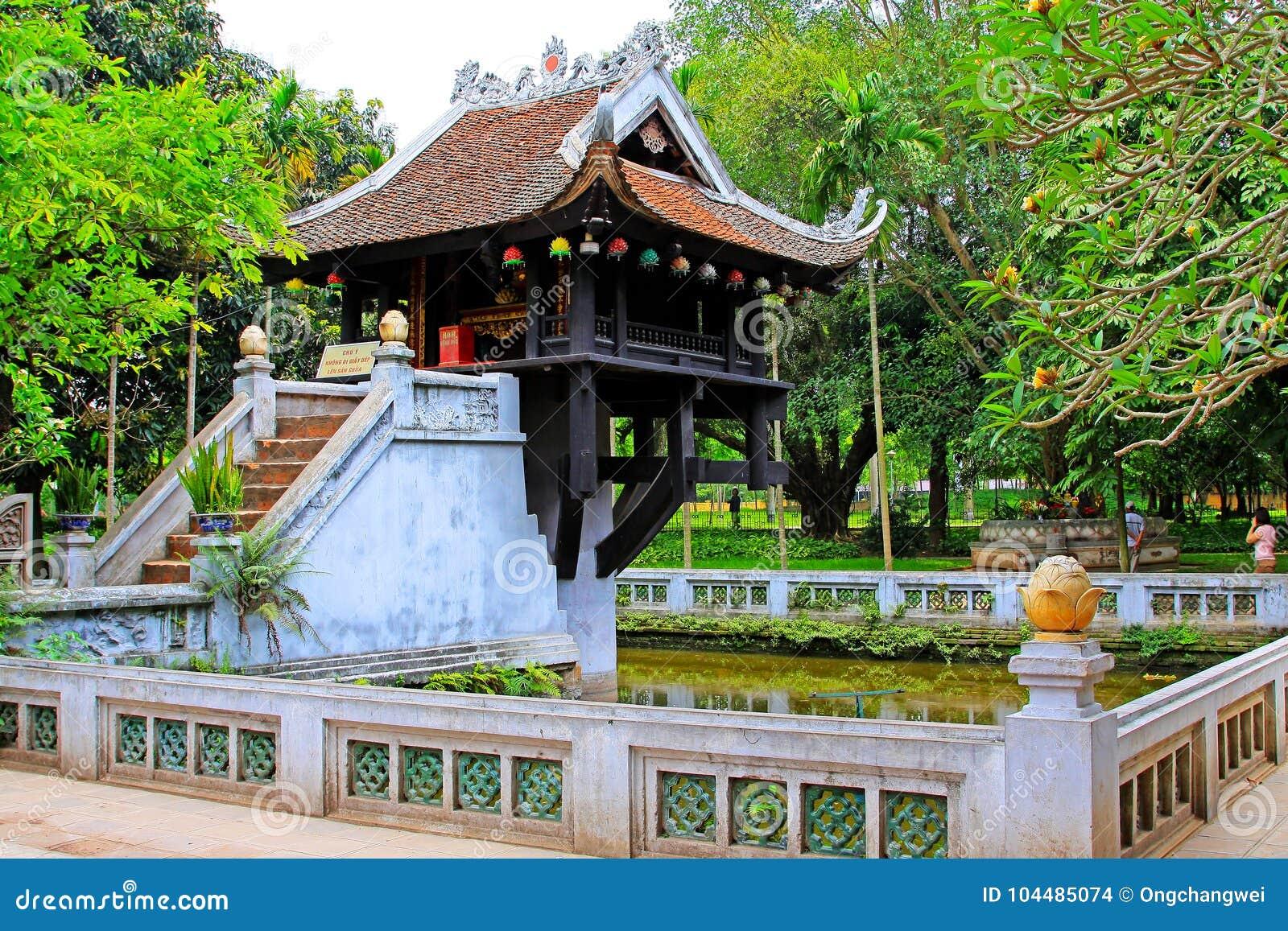 Um pagode da coluna, Hanoi Vietname