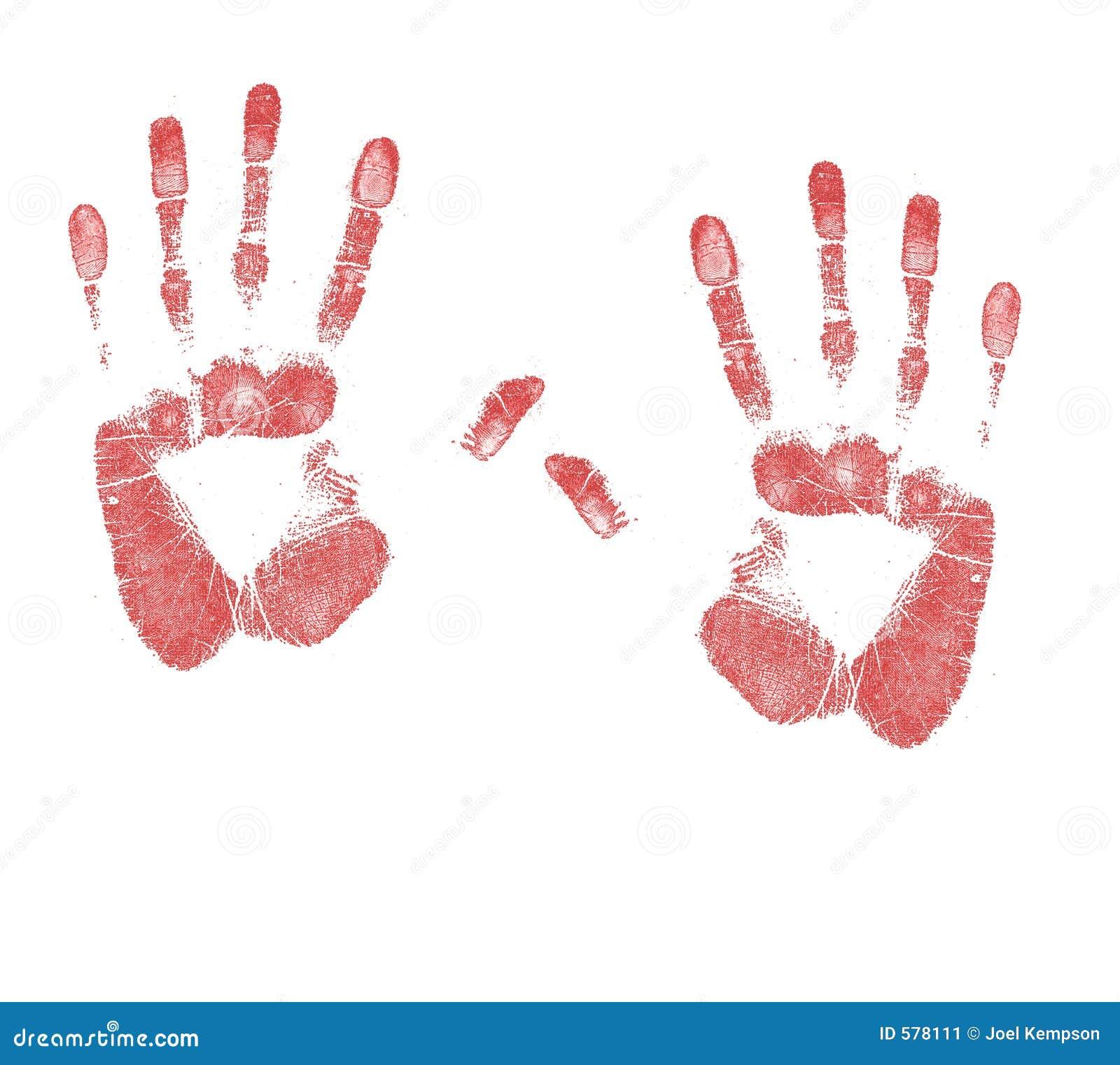 Um par de sangue manchou cópias da mão