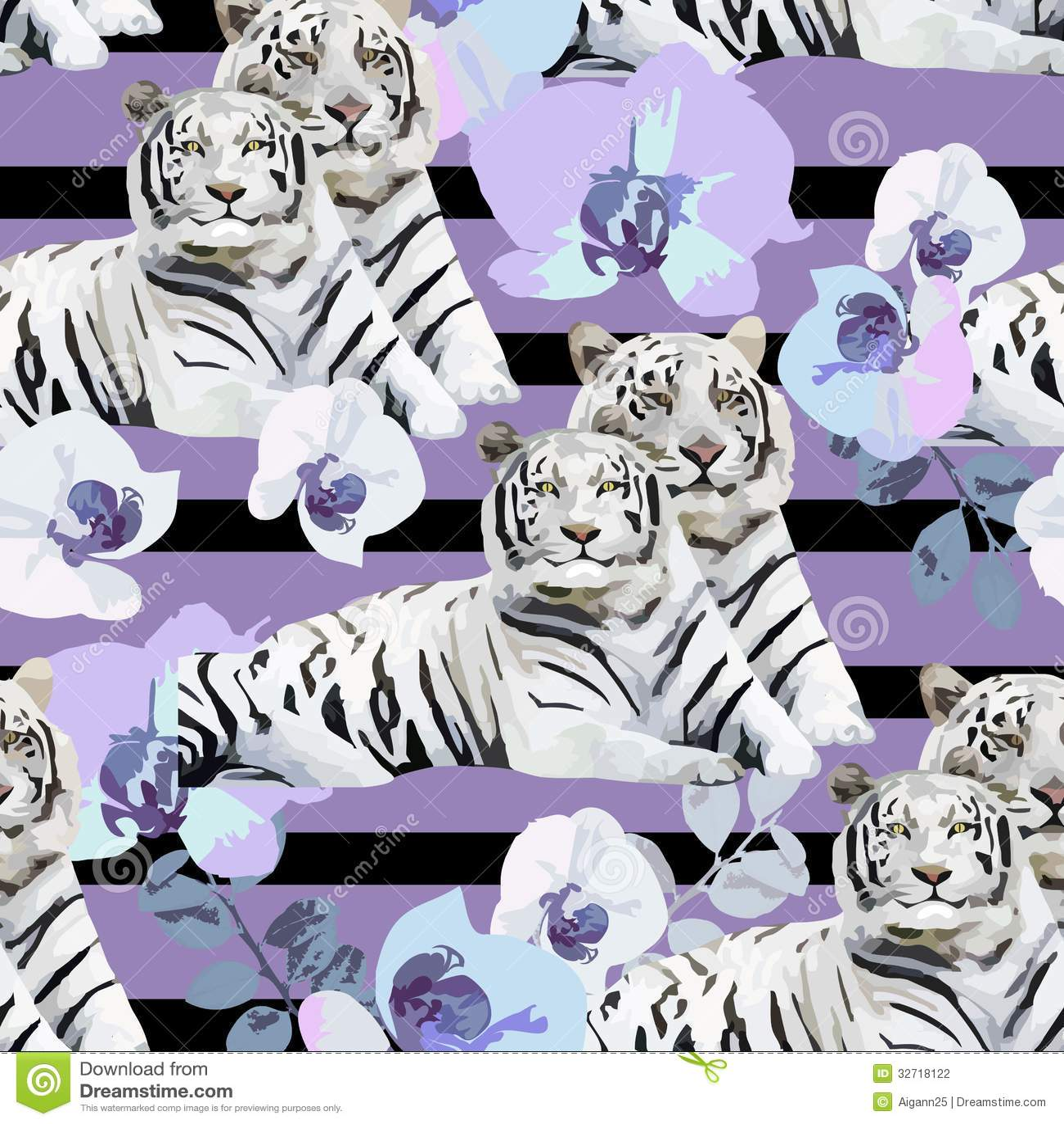 Um par dos tigres e das flores brancos
