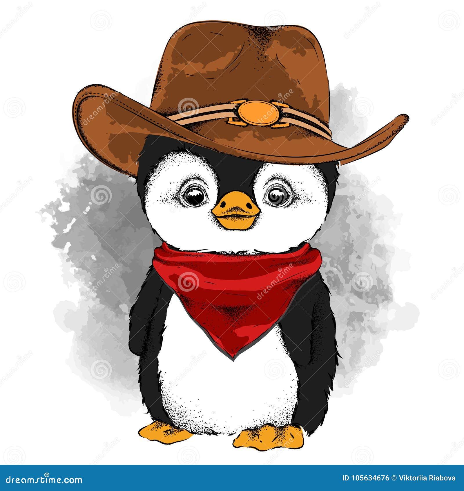Um Pinguim Em Um Chapéu De Vaqueiro Ilustração Do Vetor Ilustração ... 90f63965917
