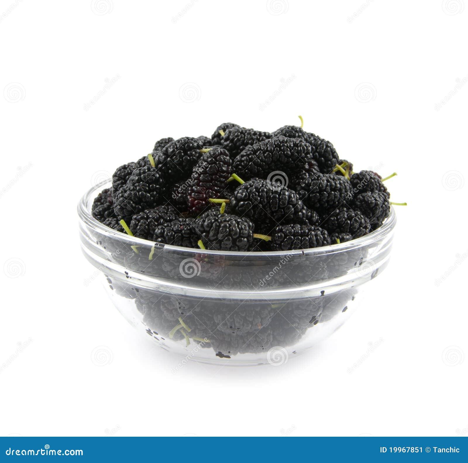 Um preto do mulberry está em um prato