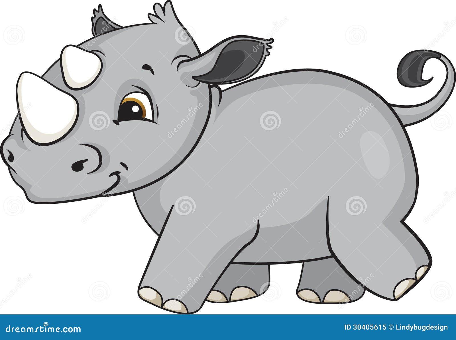 Zoológico De Animais Bebê Dos Desenhos Animados Vetor: Desenhos Animados Do Rinoceronte Do Bebê Ilustração Do