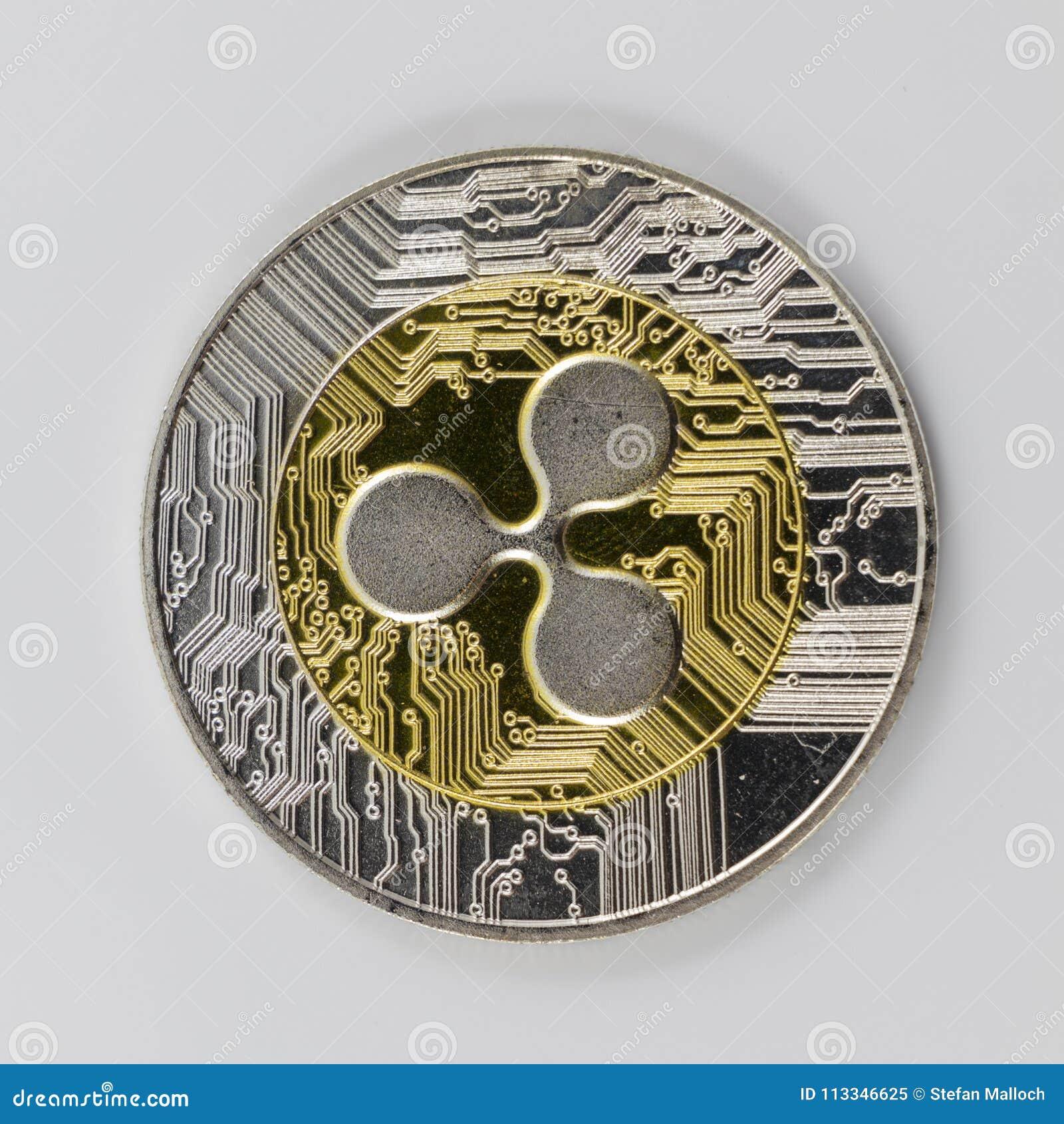 Um símbolo da ondinha XRP do ouro e da prata