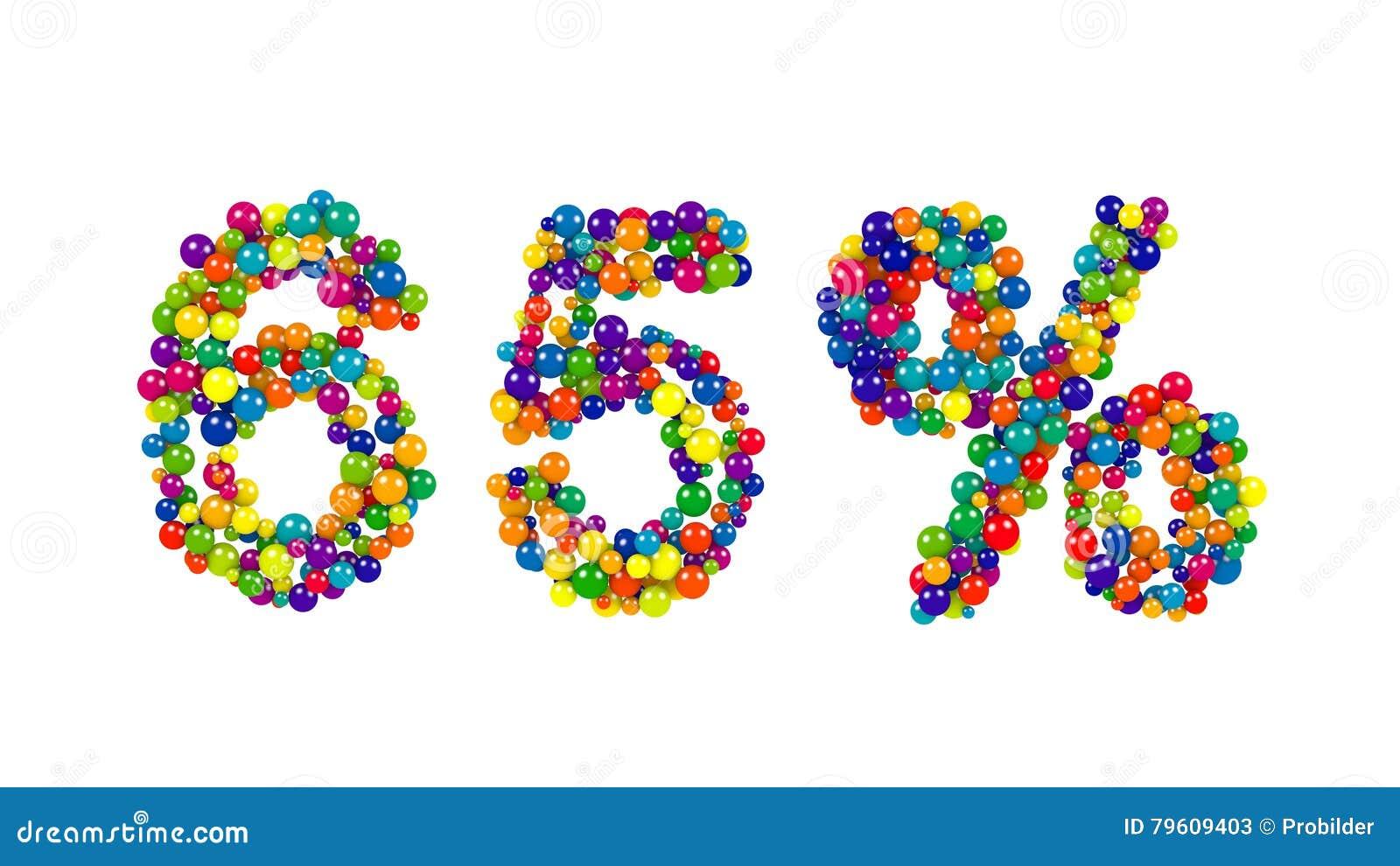 Um símbolo de 65 por cento com as bolas coloridas vívidas dinâmicas