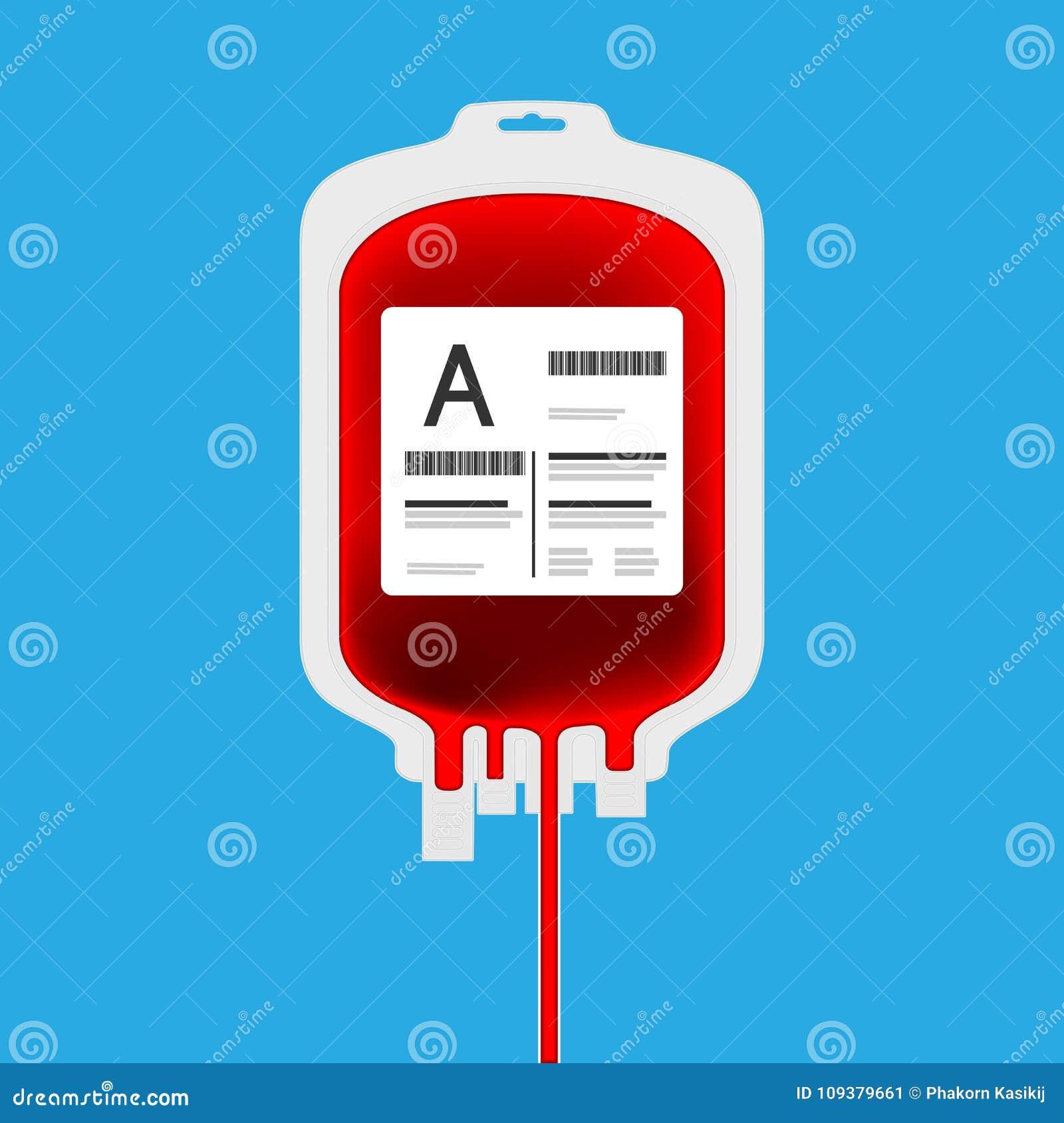 Um saco plástico do sangue isolado com completamente do sangue para dentro