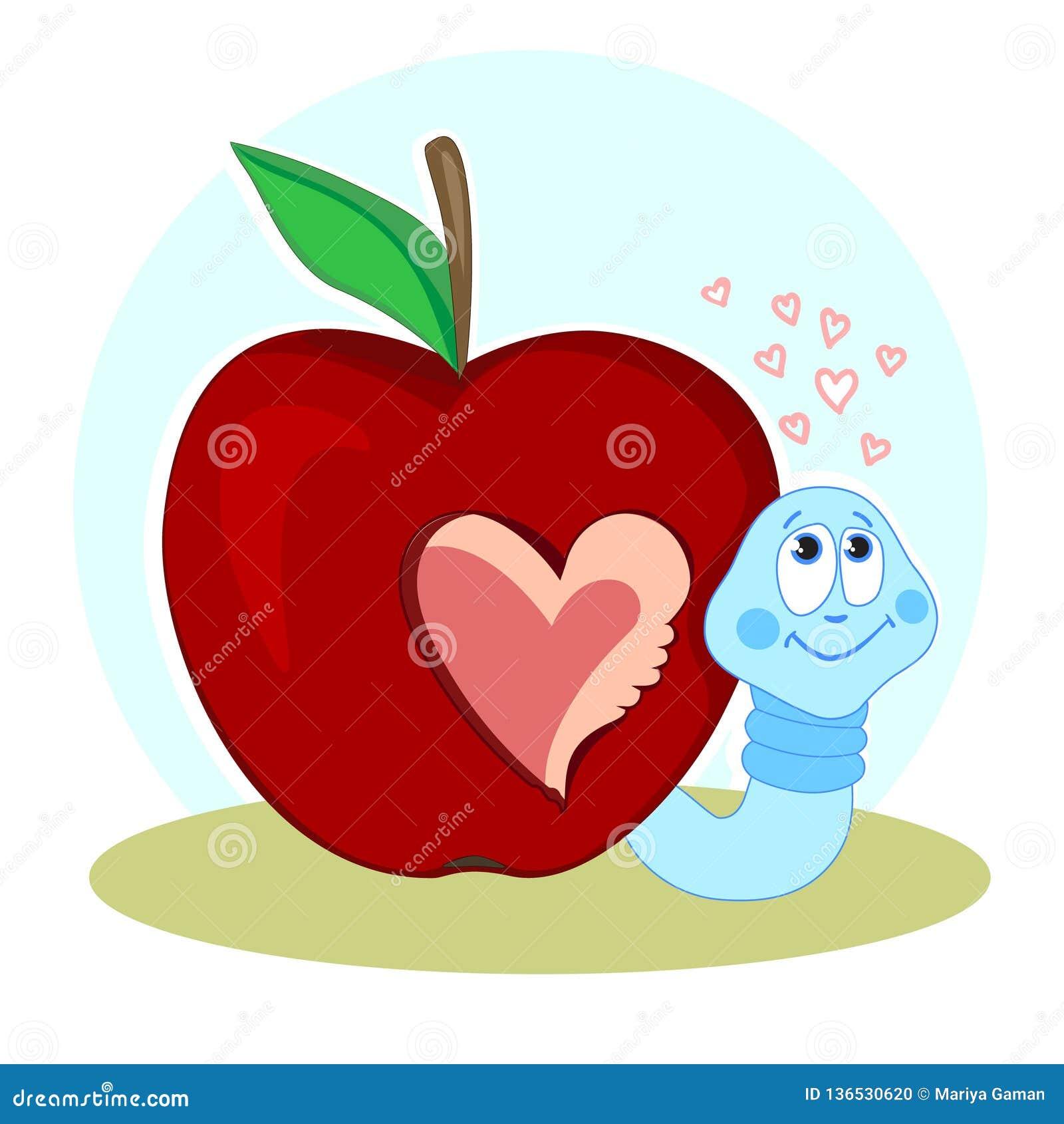 Um sem-fim e Apple mordido Amor e o coração Dia do `s do Valentim Cartão com um caráter engraçado Eu falto-o Vetor
