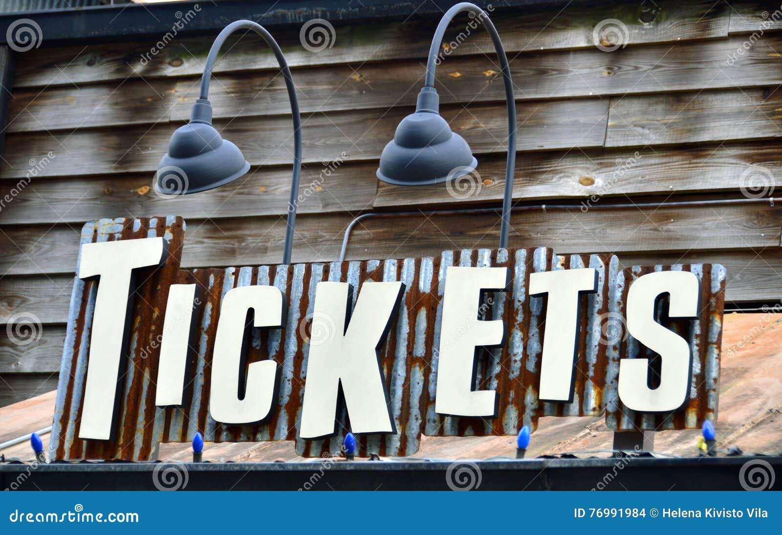 Um sinal para vendas do bilhete