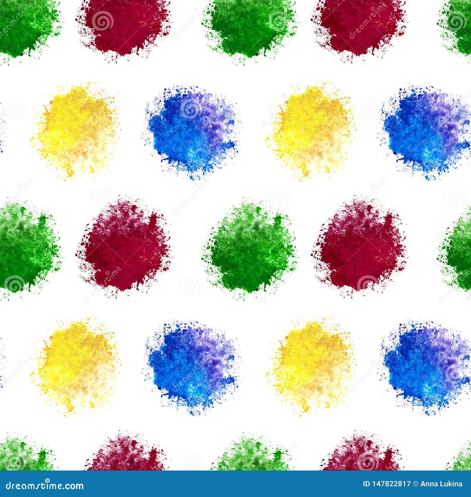Um tamanco sem emenda da mancha verde vermelha amarela azul da aquarela espirra isolado no fundo branco para a matéria têxtil, pa