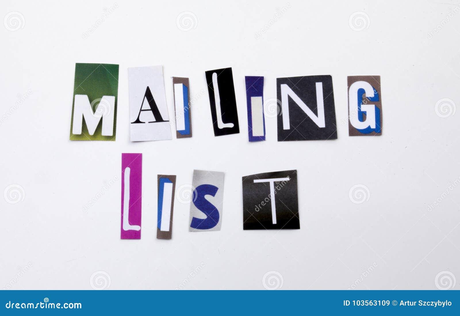 Um texto da escrita da palavra que mostra o conceito da lista de endereços feito da letra diferente do jornal do compartimento pa