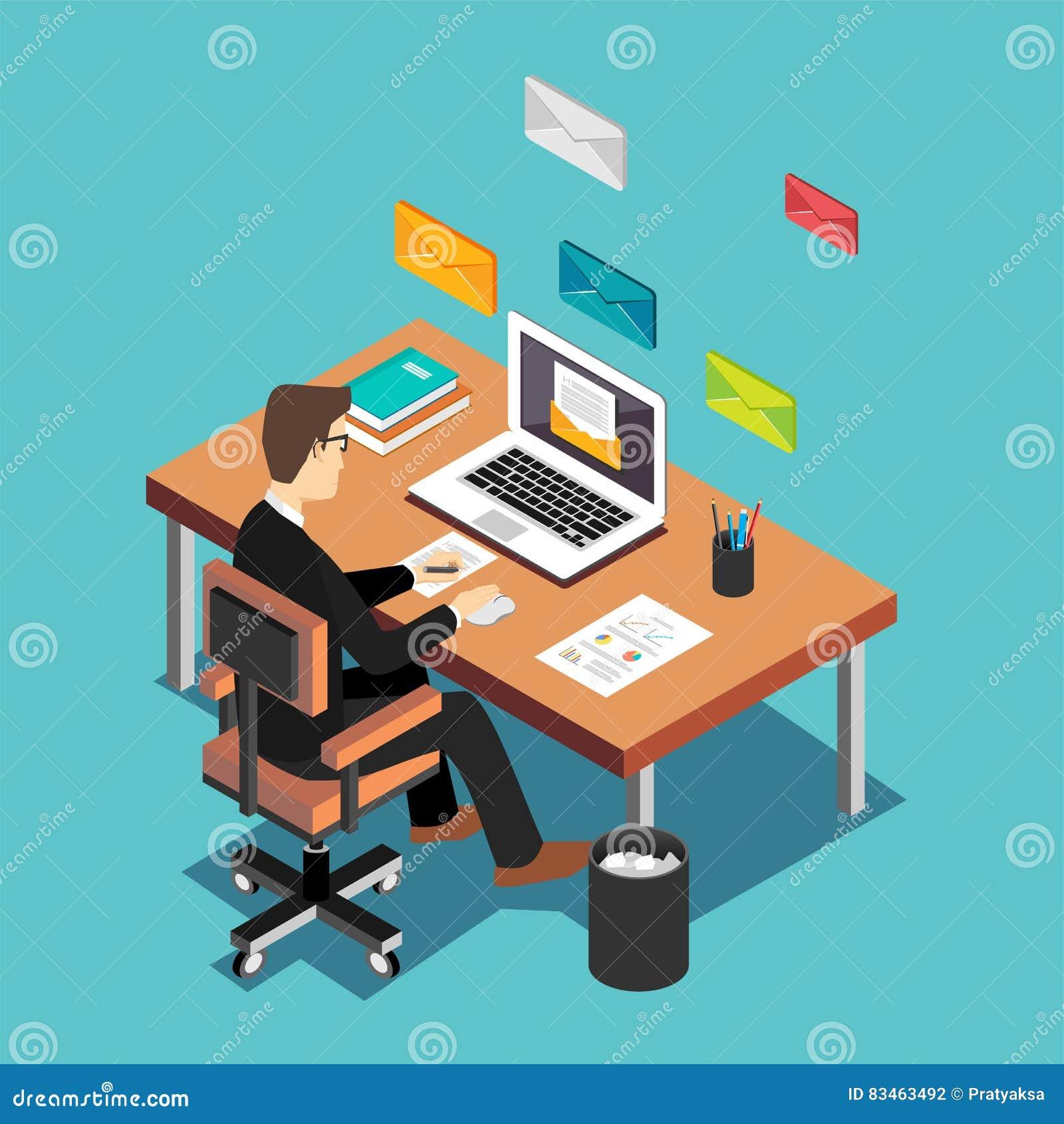 Um trabalhador de escritório que envia email e comunicação com os clientes Conceito do mercado do email Concep isométrico liso da