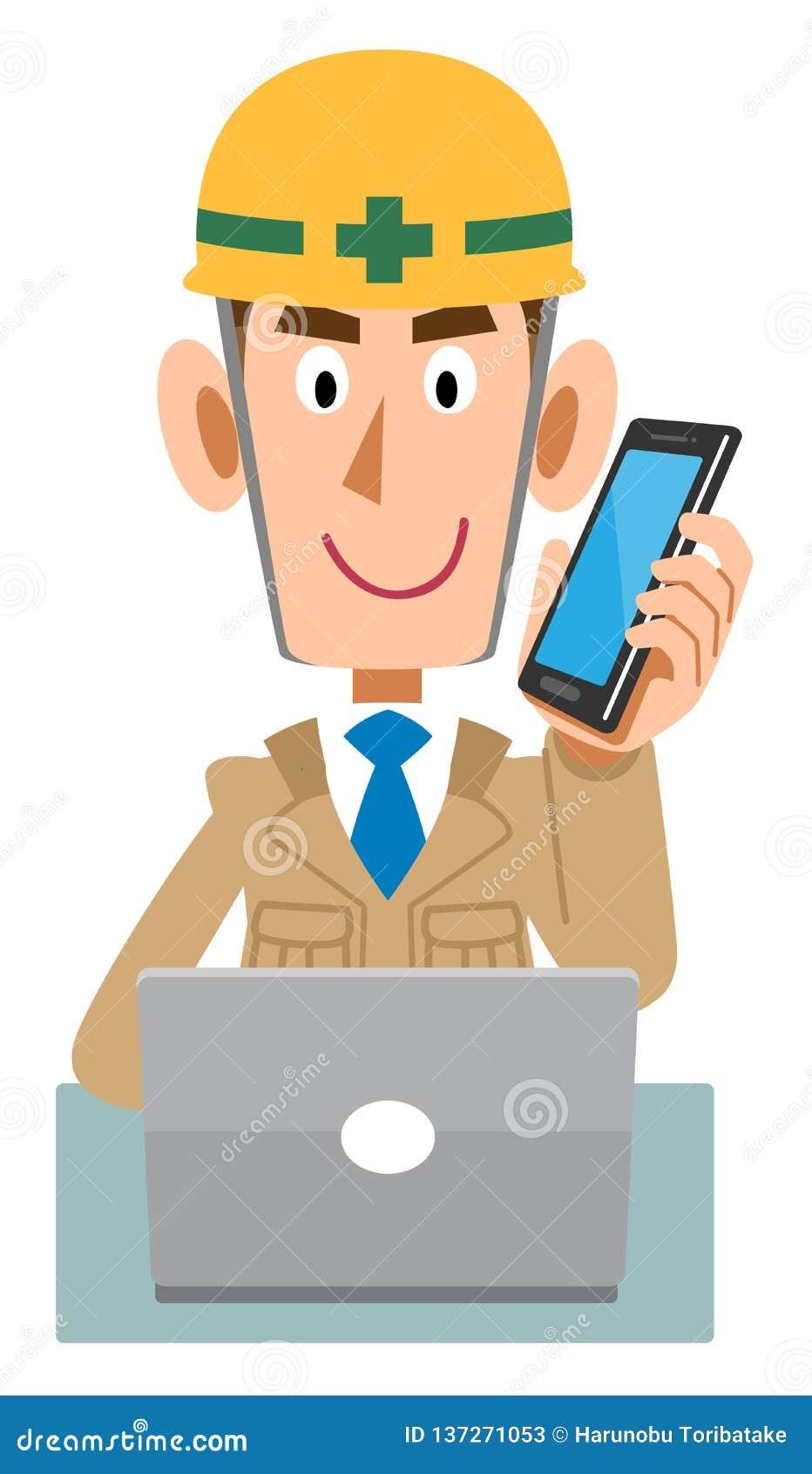 Um trabalhador em um canteiro de obras que opere um PC ao falar com um telefone celular