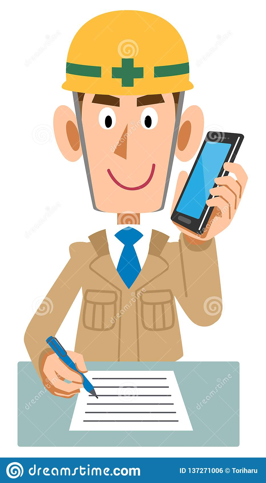 Um trabalhador no canteiro de obras que escreve memorandos ao falar no telefone celular