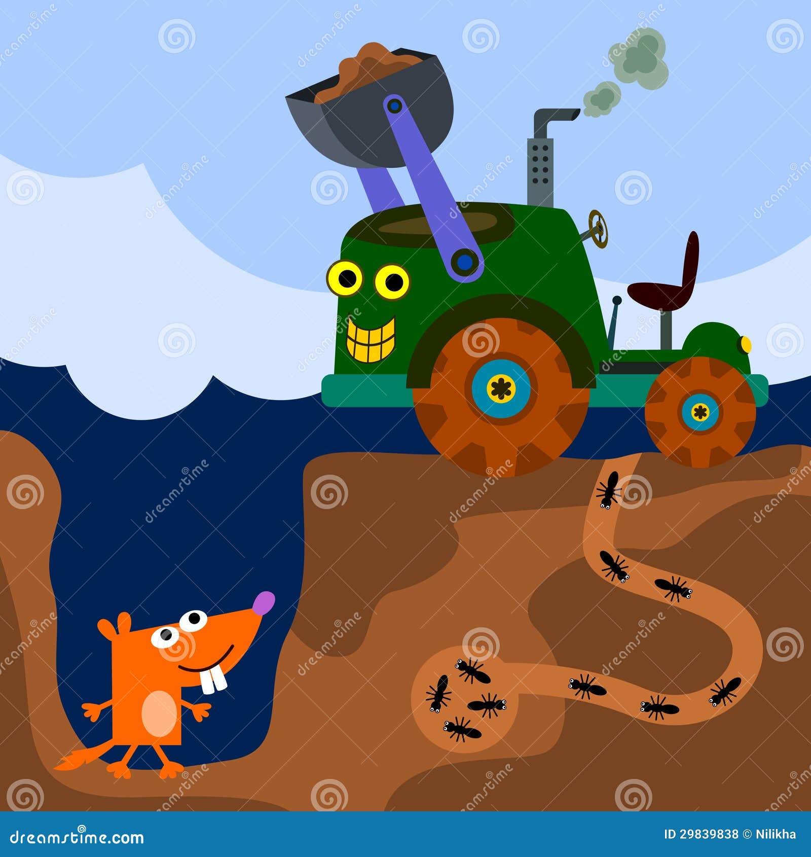 Escavação do trator