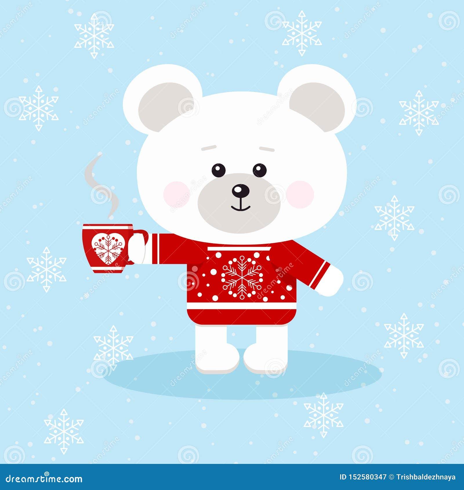 Um urso polar do Natal bonito na camiseta vermelha com o copo vermelho do chá ou do café no fundo da neve no estilo liso dos dese