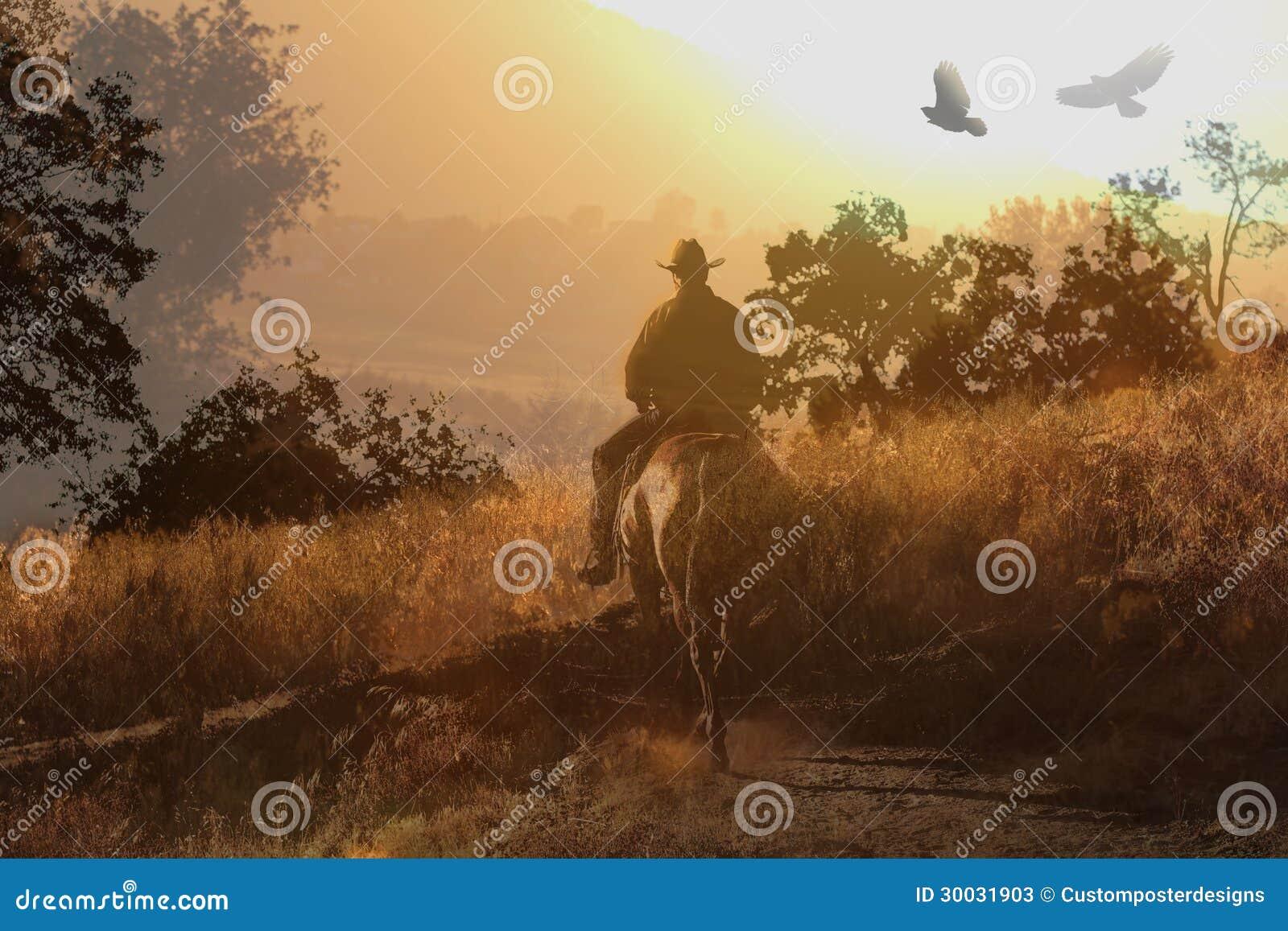Um vaqueiro que monta um cavalo V.