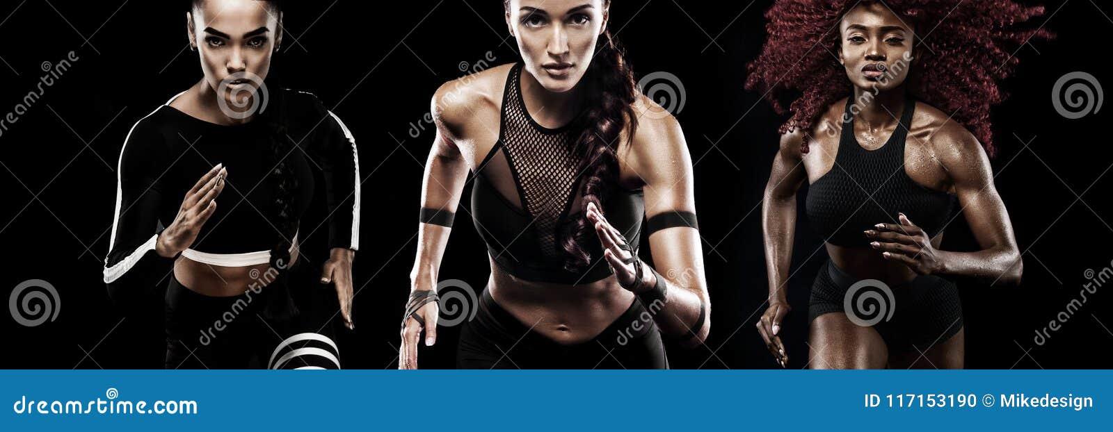 Um velocista forte atlético, das mulheres, correndo no fundo preto que veste na motivação do sportswear, da aptidão e do esporte