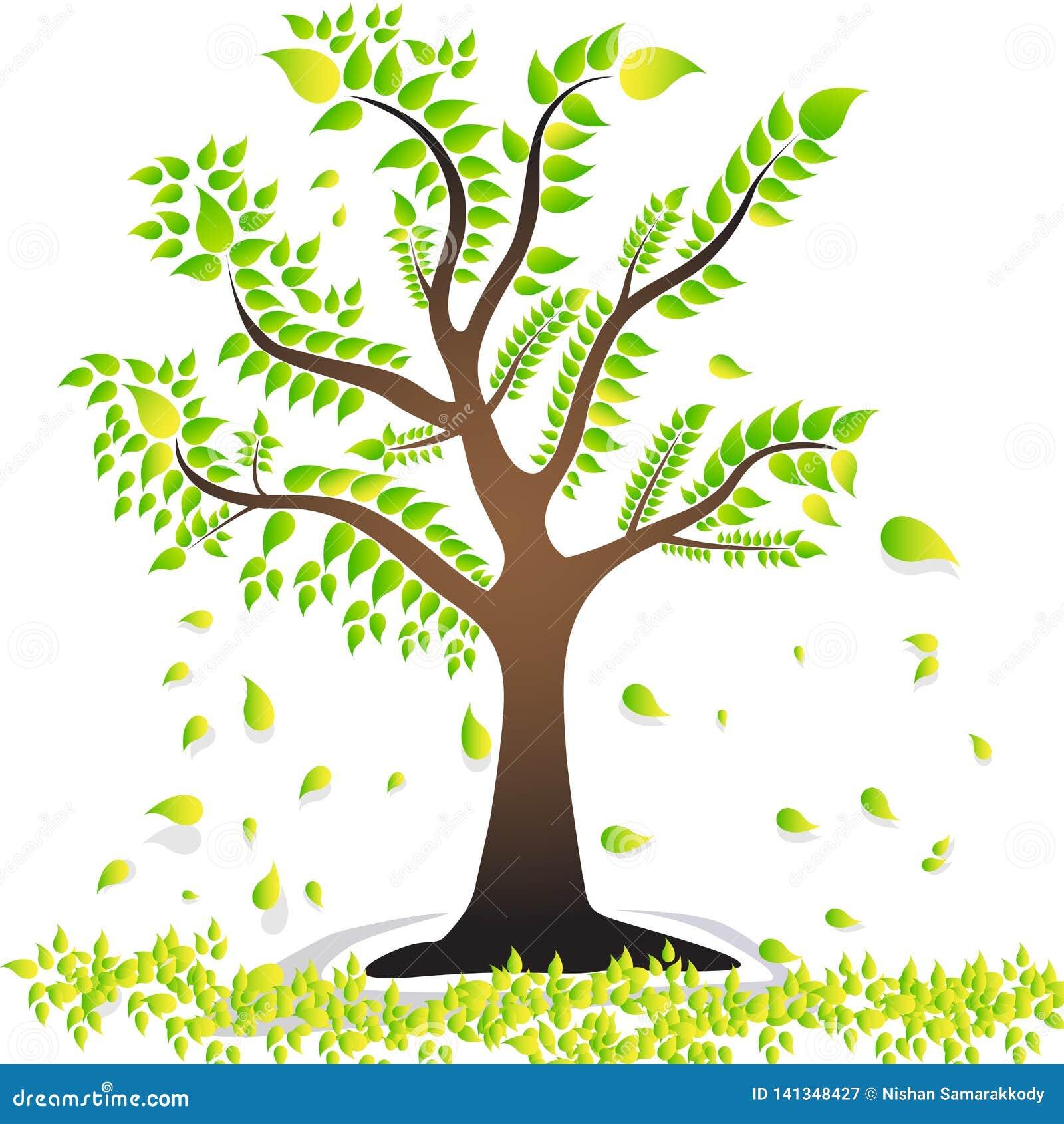 Uma árvore com as folhas verdes das folhas bonito treebroken as folhas