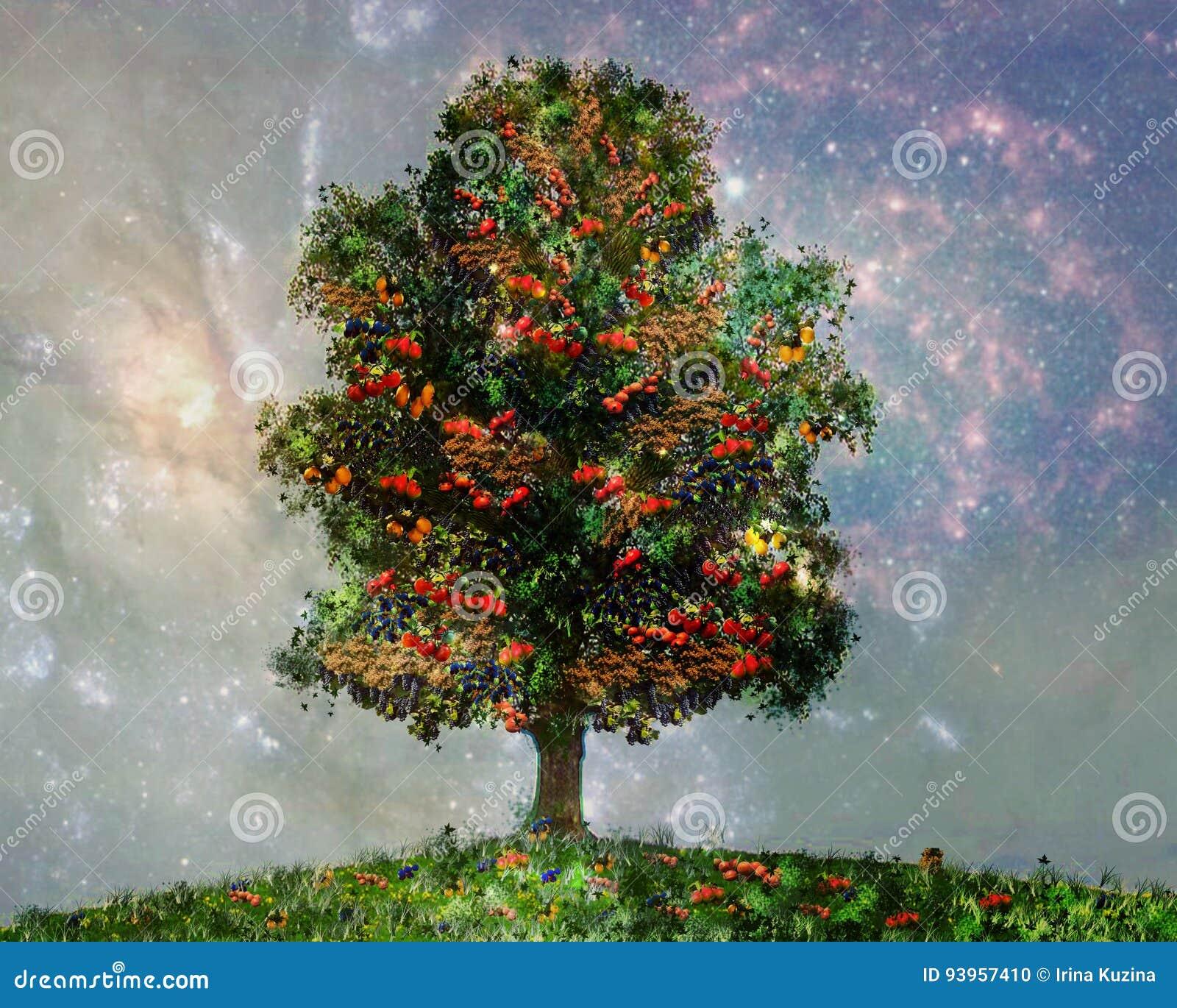 Uma árvore com frutos diferentes, bananas, laranjas, maçãs, tomates, bagas