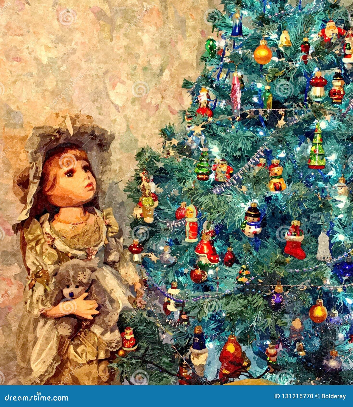 Uma árvore de Natal mágica Ainda-vida do Natal Aquarela molhada de pintura no papel Arte ingénua Arte abstrata