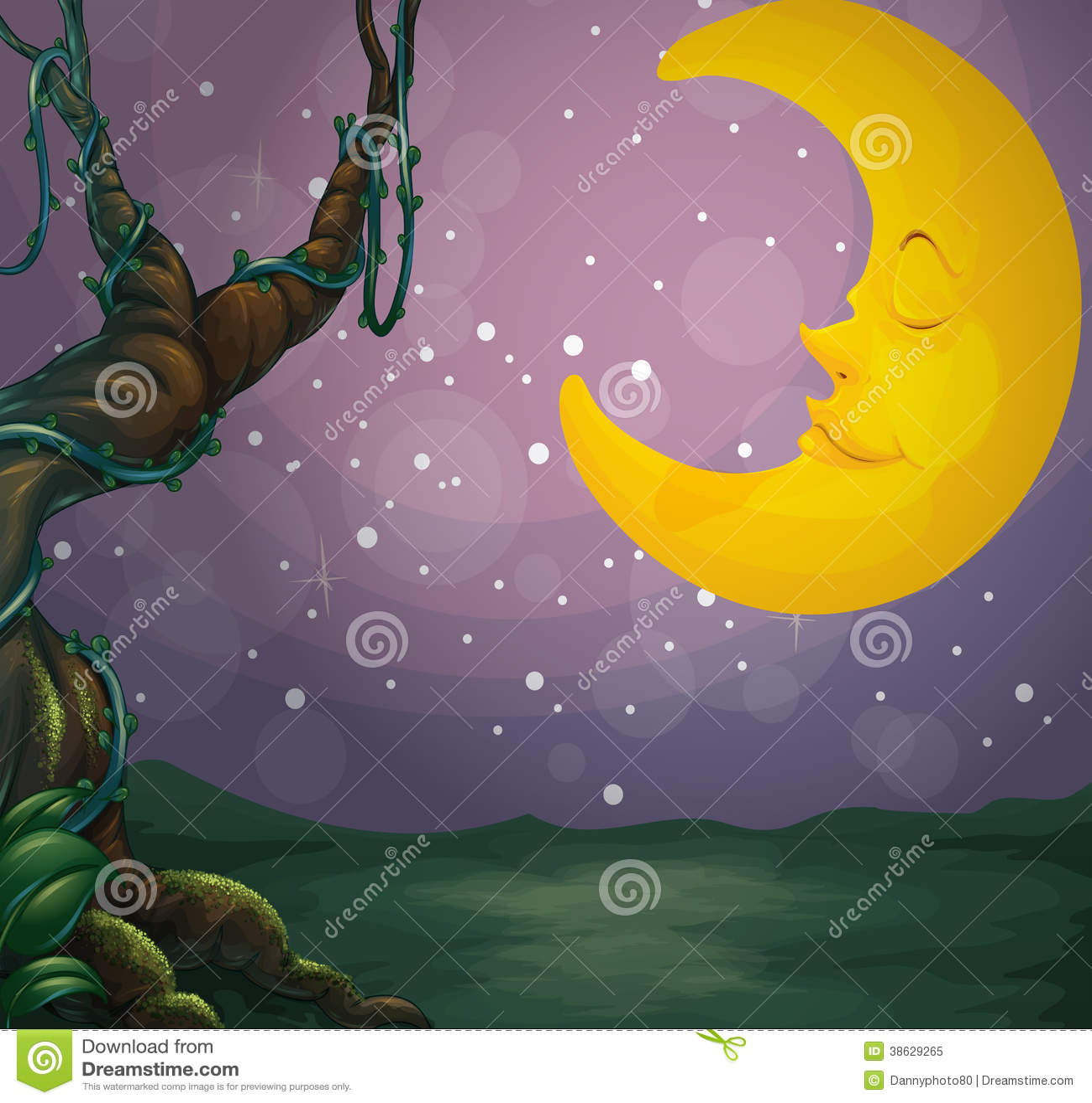 Uma árvore gigante e uma lua do sono