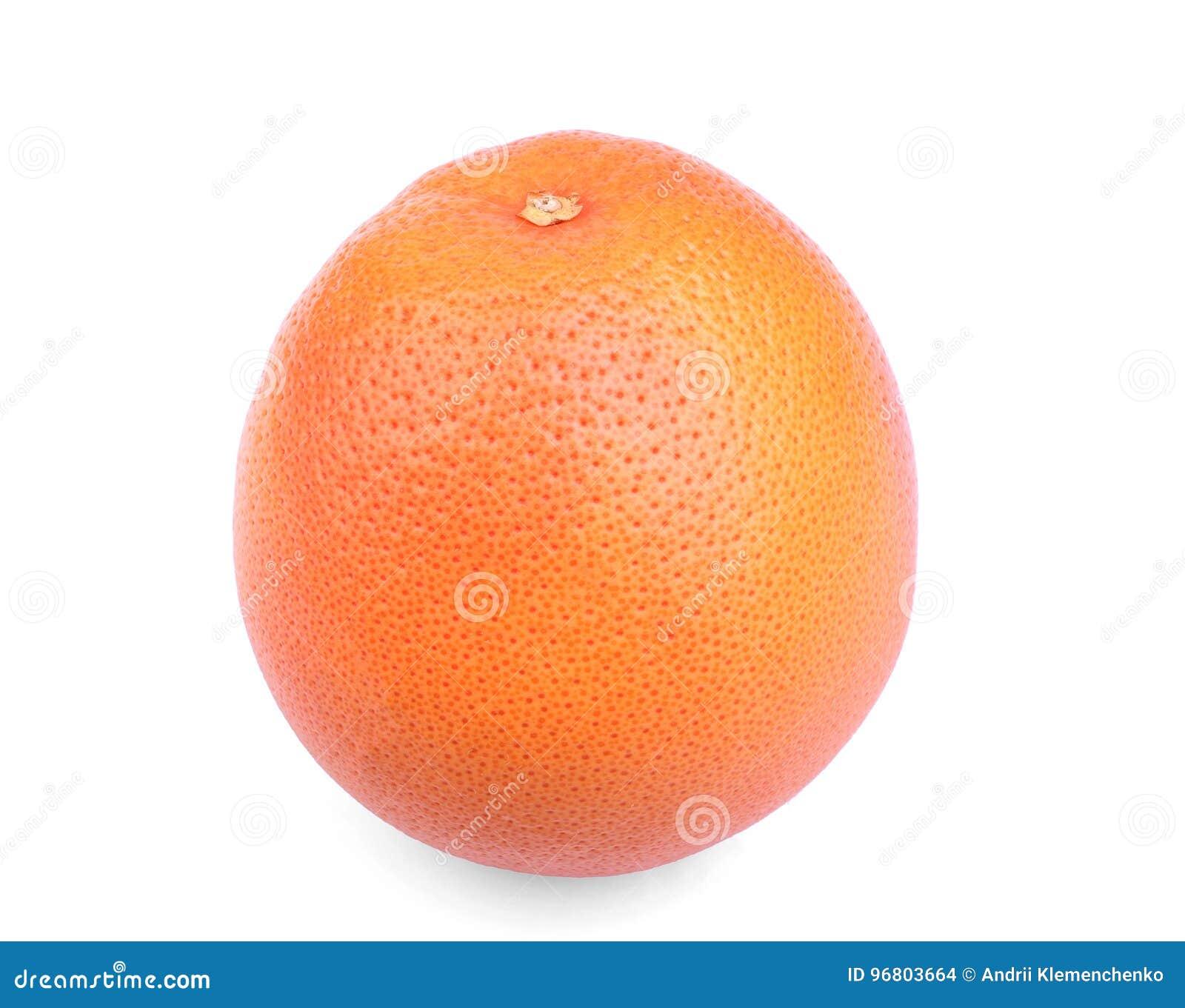 Uma única toranja brilhante em um fundo branco Citrinos exóticos e tropicais Toranja madura e crua Laranjas frescas da vitamina C