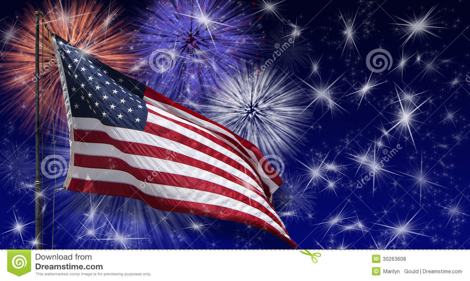 Fogos-de-artifício da bandeira dos EUA