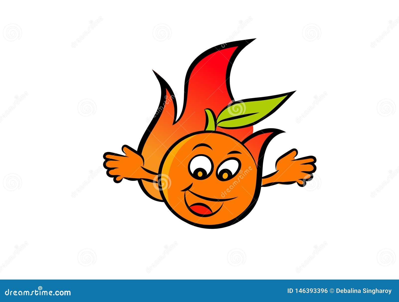Uma bola de fogo alaranjada feliz que acena suas mãos