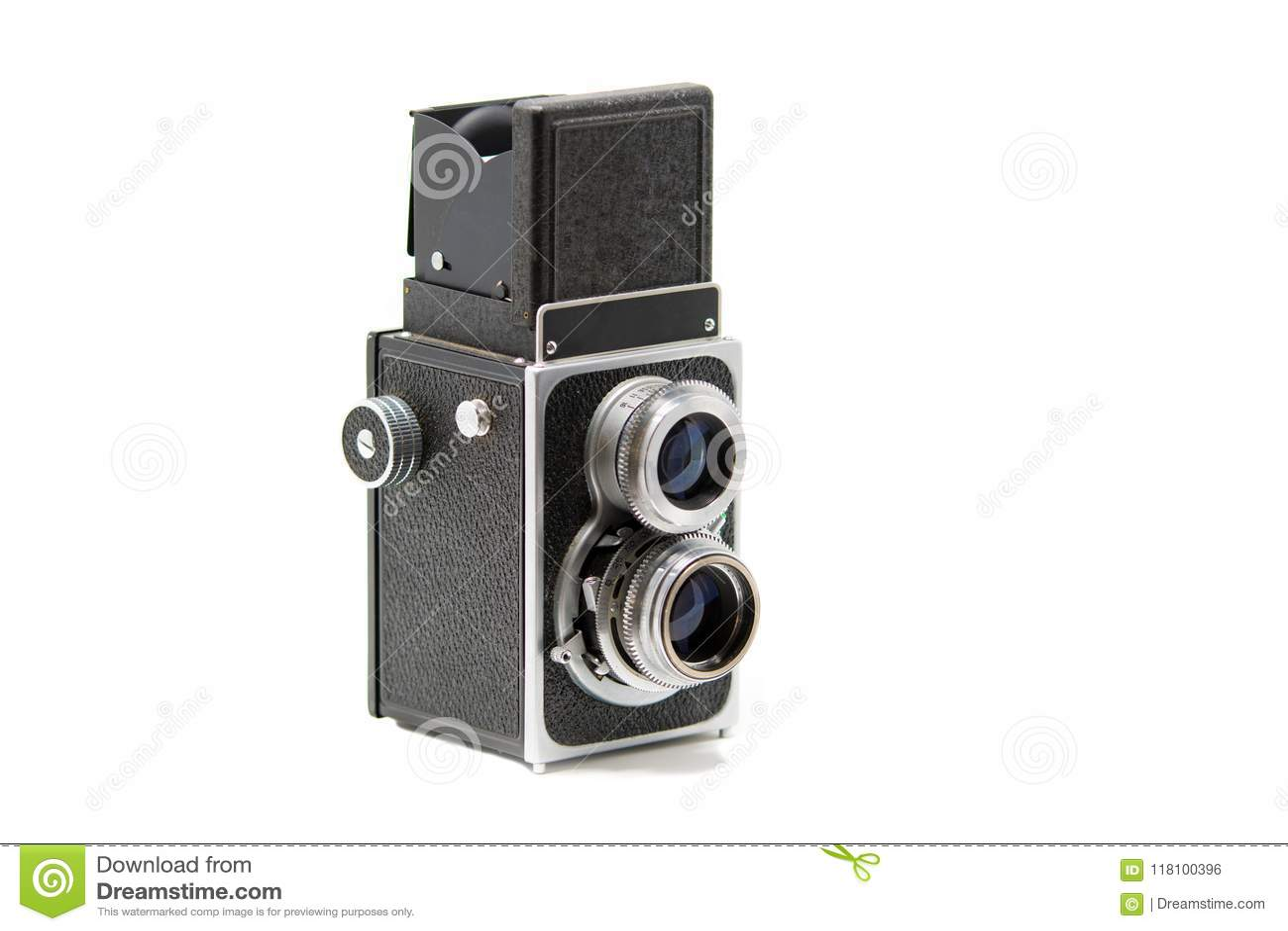 Uma câmera de reflexo gêmea clássica da lente