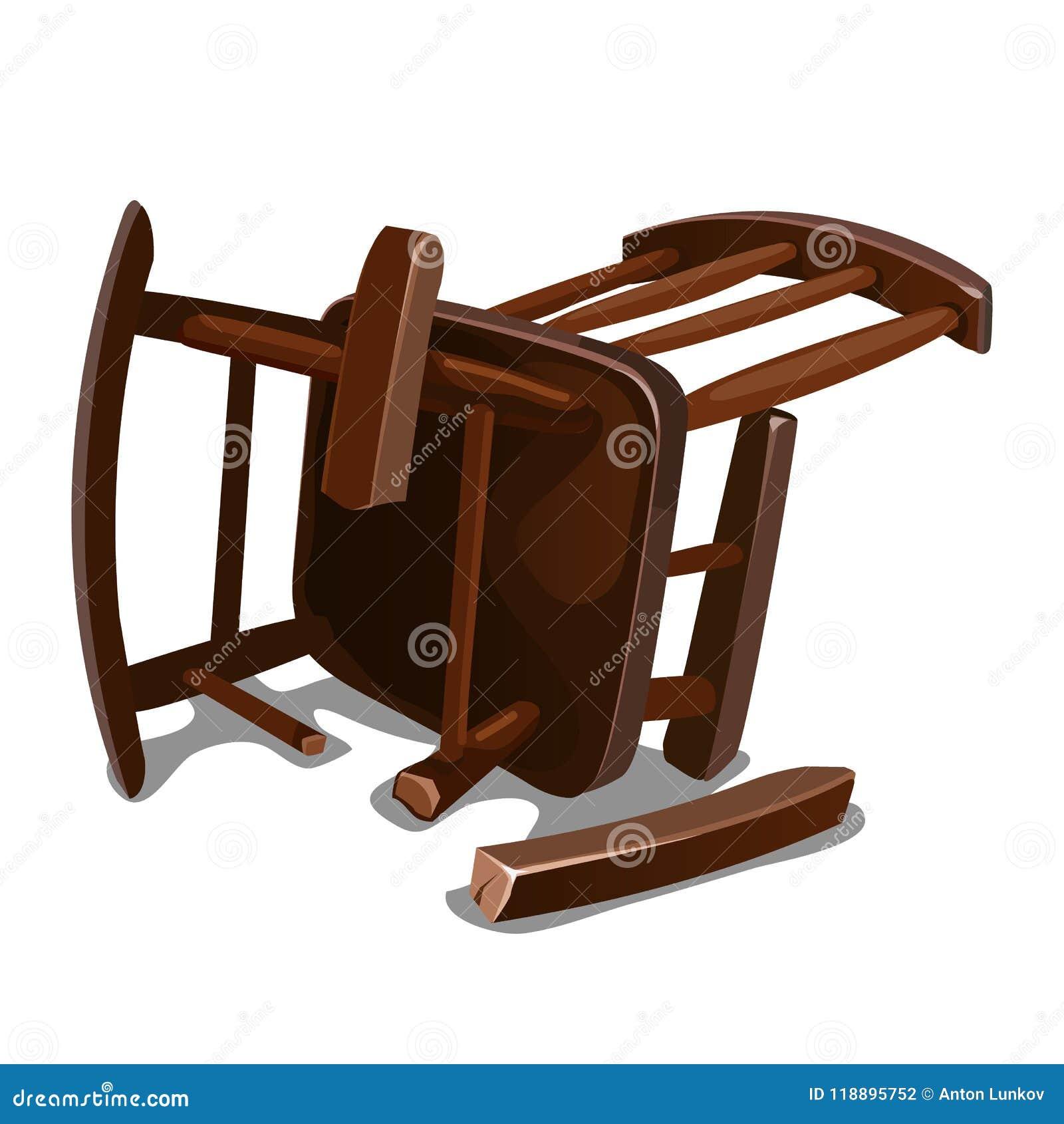 Uma cadeira de balanço de madeira velha quebrada isolada no fundo branco Ilustração do close-up dos desenhos animados do vetor