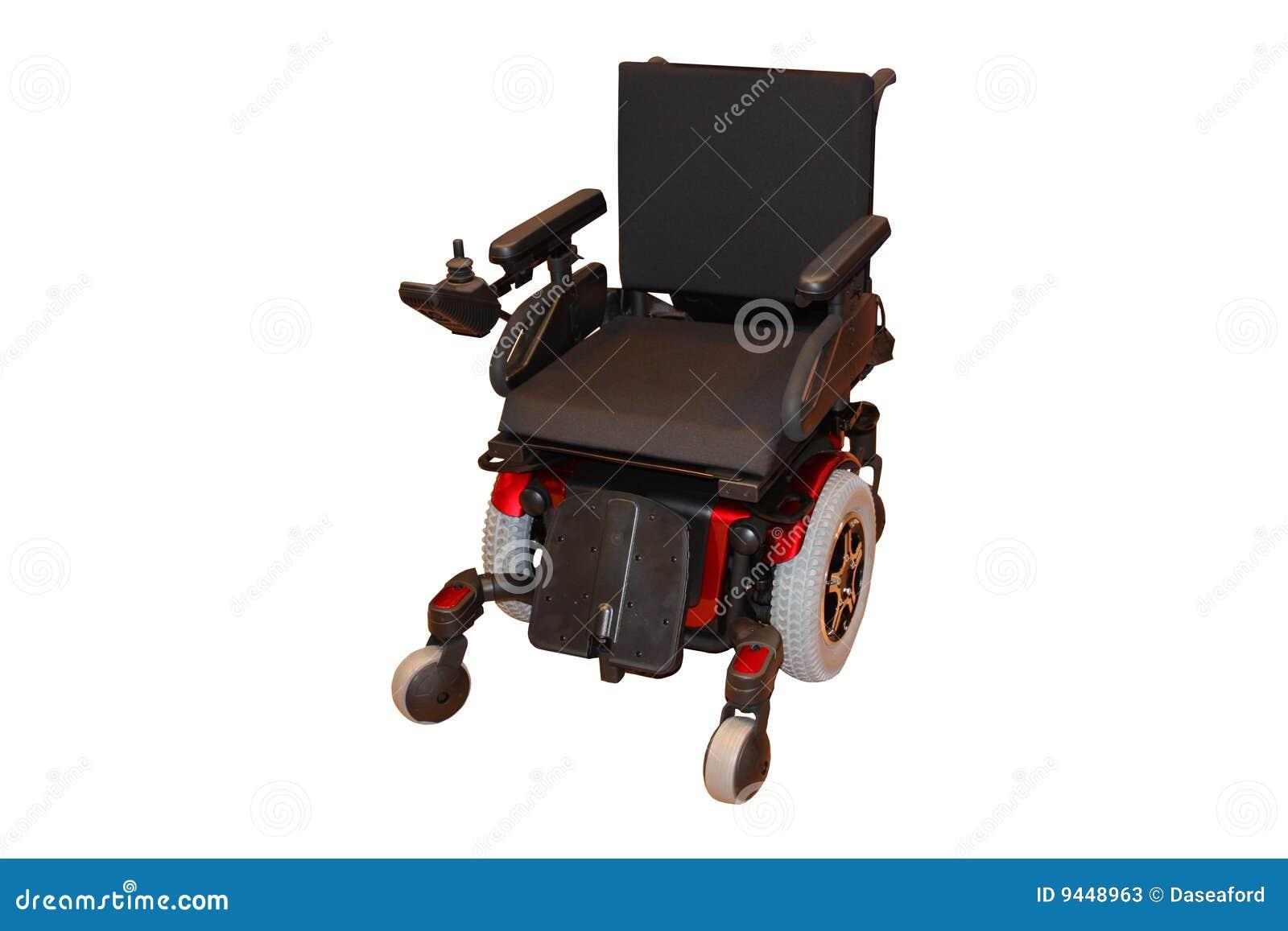 Uma cadeira de rodas elétrica.
