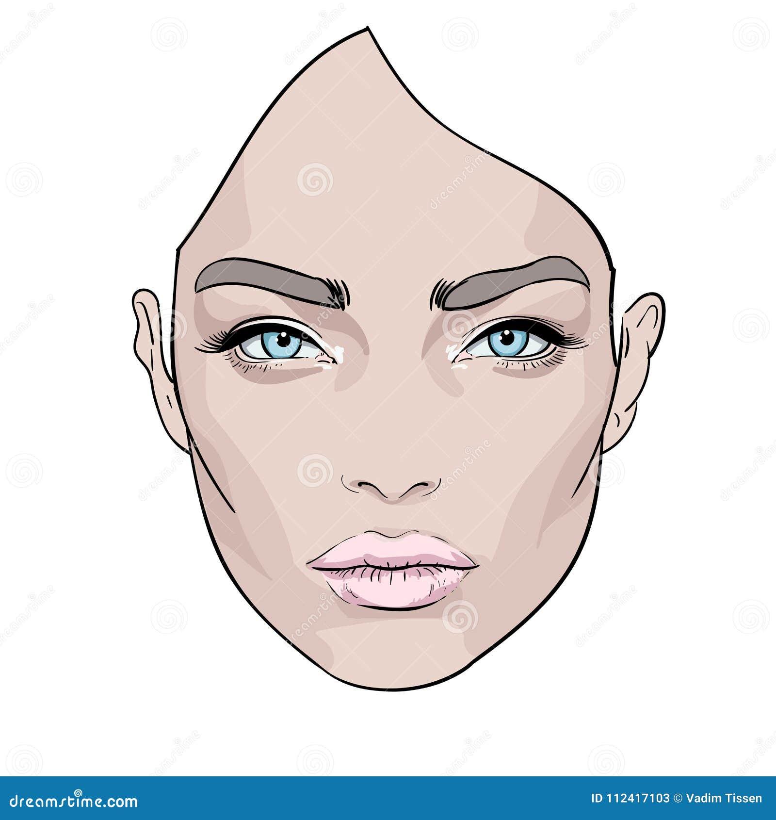 Uma cara bonita da mulher s creativo Retrato da forma Vetor