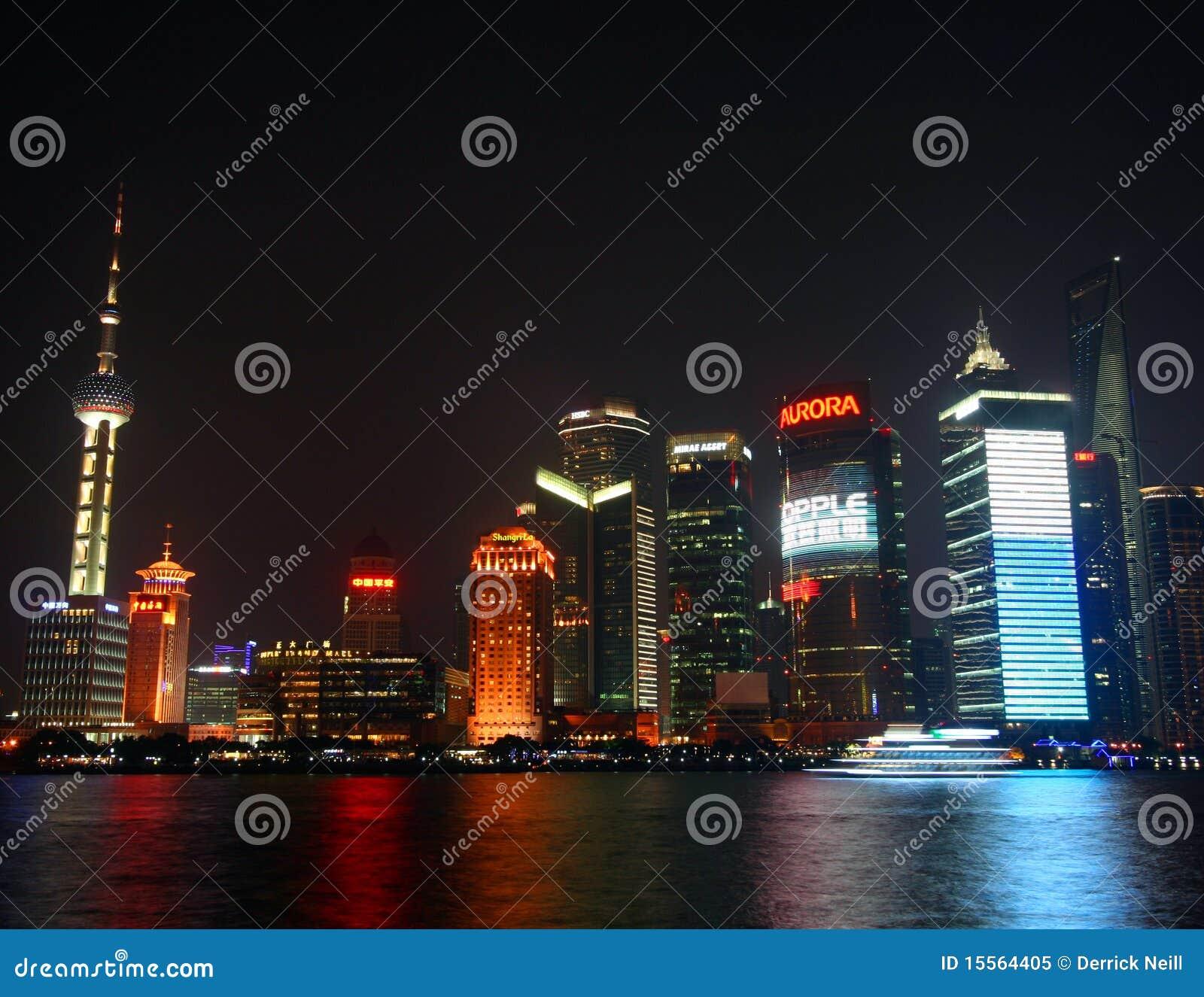 Uma cena da noite de Pudong