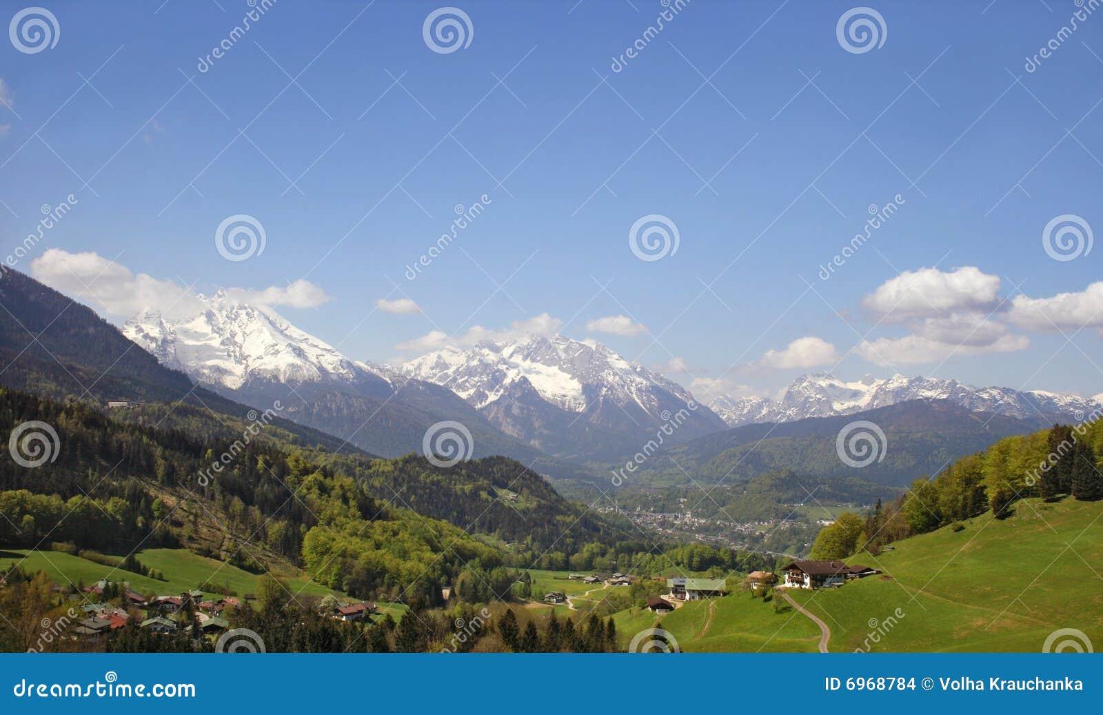 Uma cidade alpina pequena