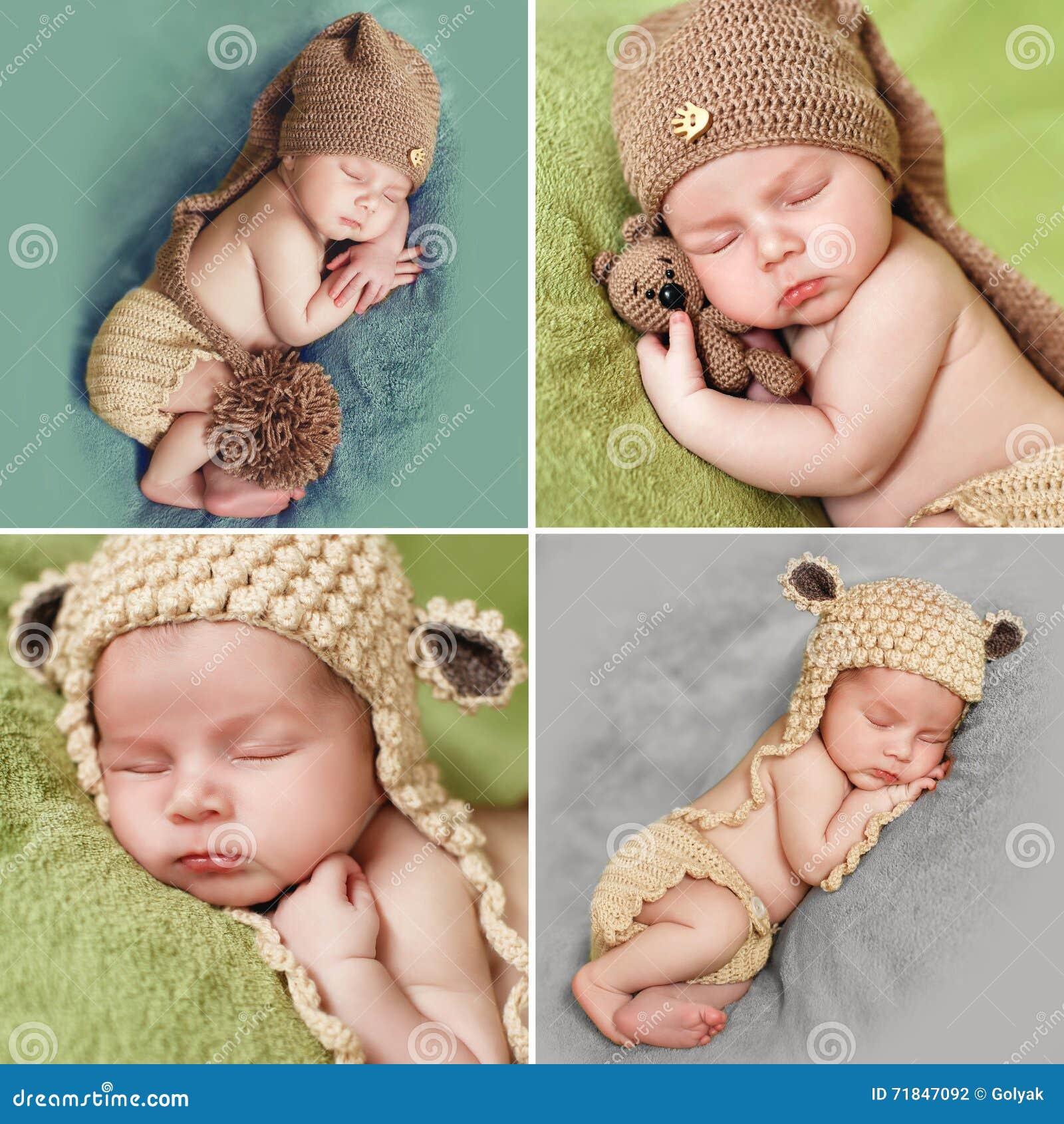 Uma colagem das fotos de um bebê de sono no tampão feito malha