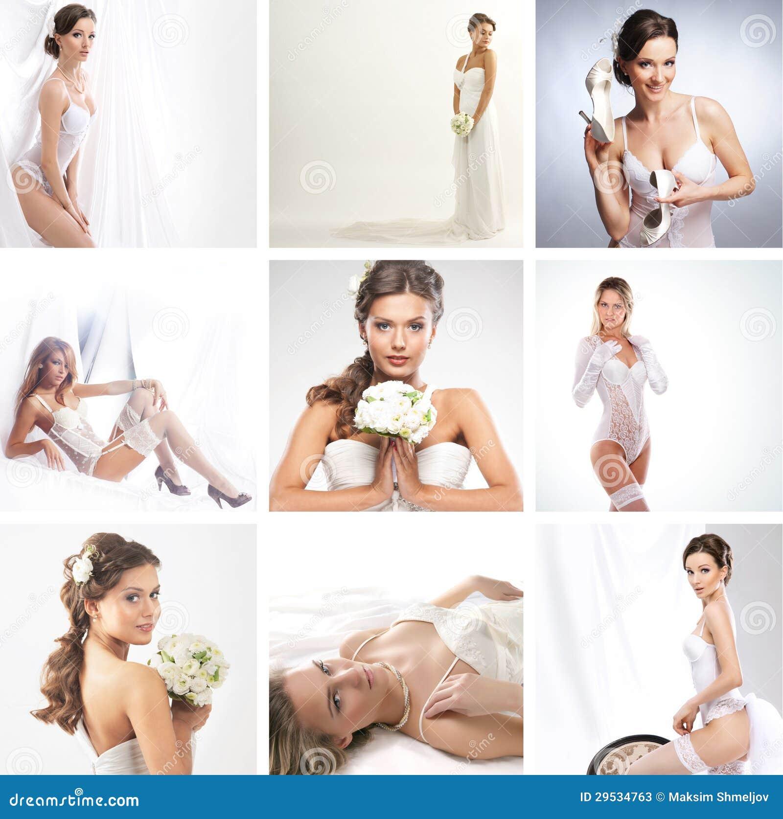 Uma colagem das imagens com as noivas em vestidos de casamento