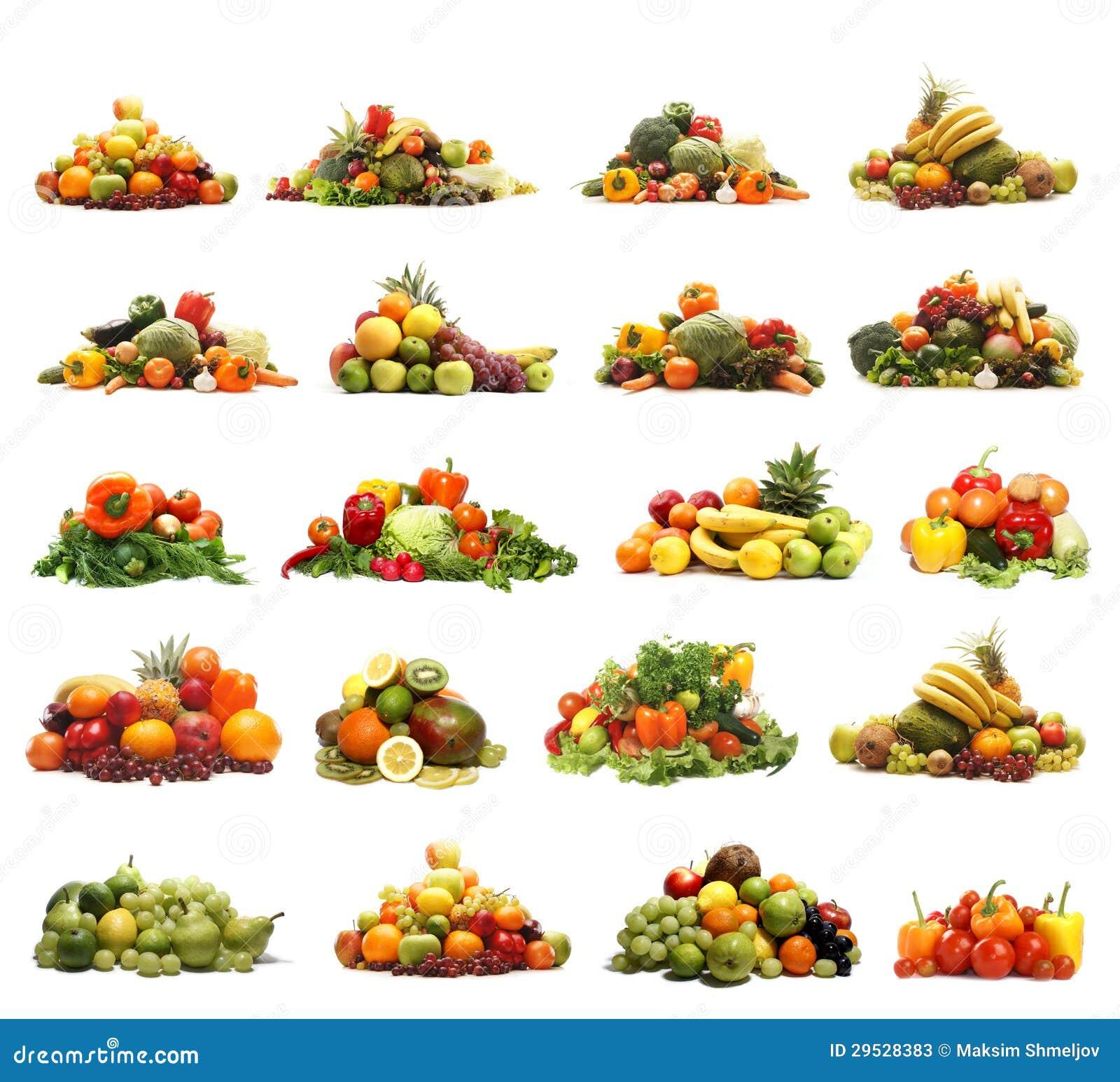 Uma colagem de muitas frutas e verdura diferentes