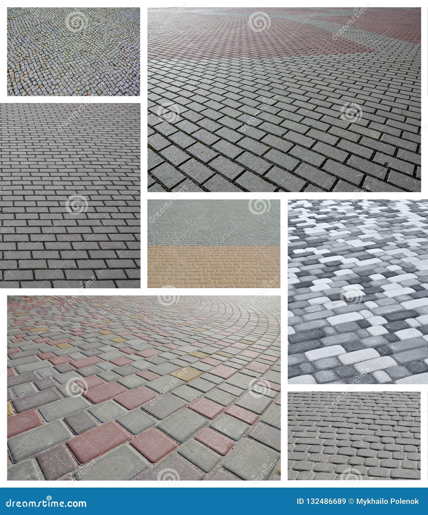 Uma colagem de muitas imagens com fragmentos de pavimentar as telhas próximas