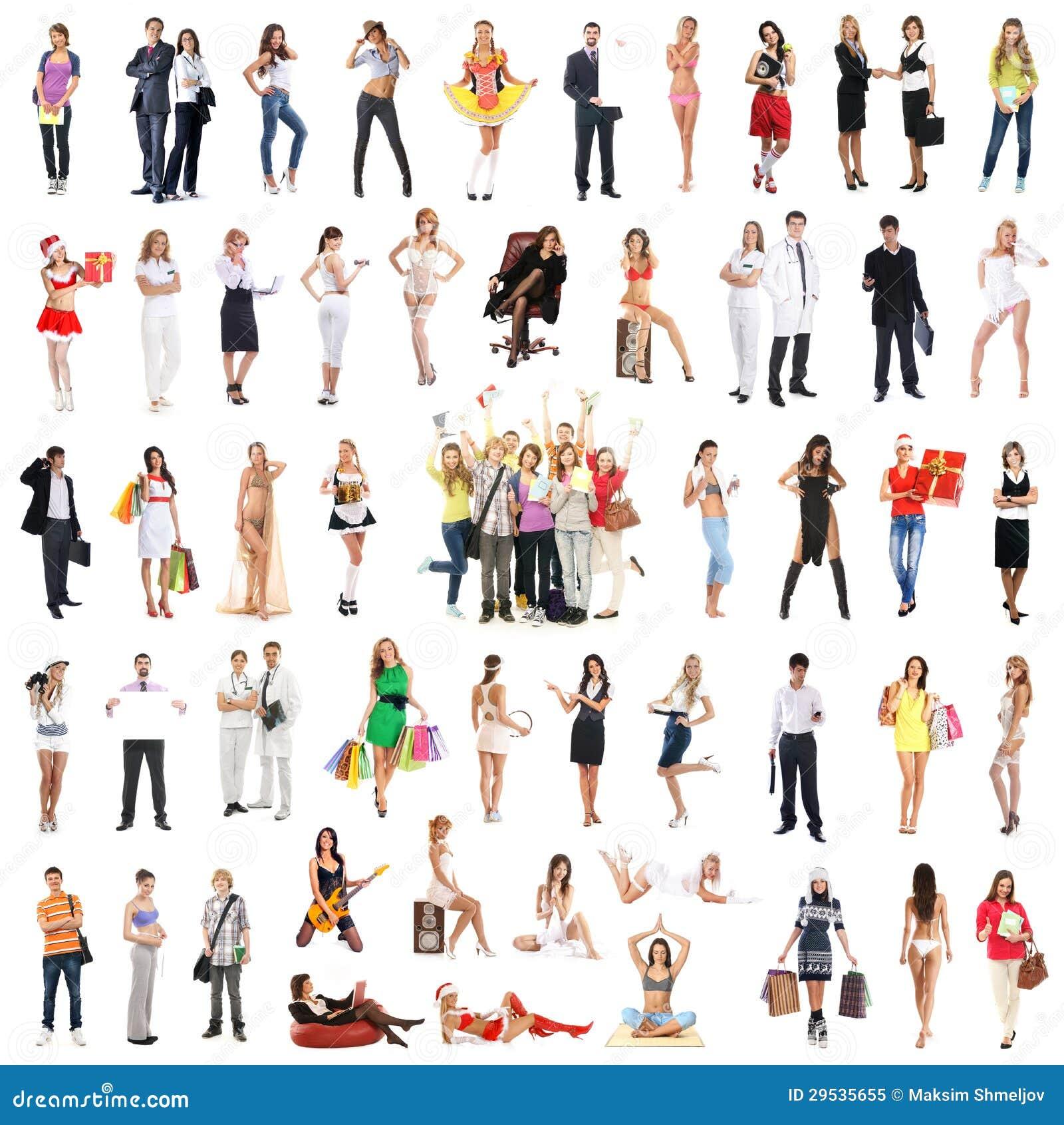 Uma colagem de muitos povos diferentes que levantam na roupa