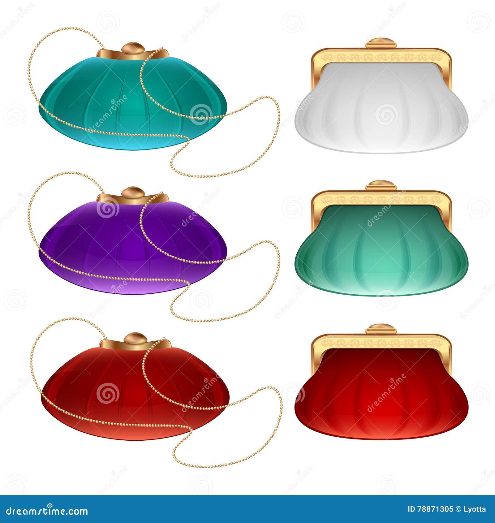 Uma coleção de bolsas e bolsas pequenas do teatro na bolsa diferente das cores brancas, as vermelhas e as azuis e na bolsa