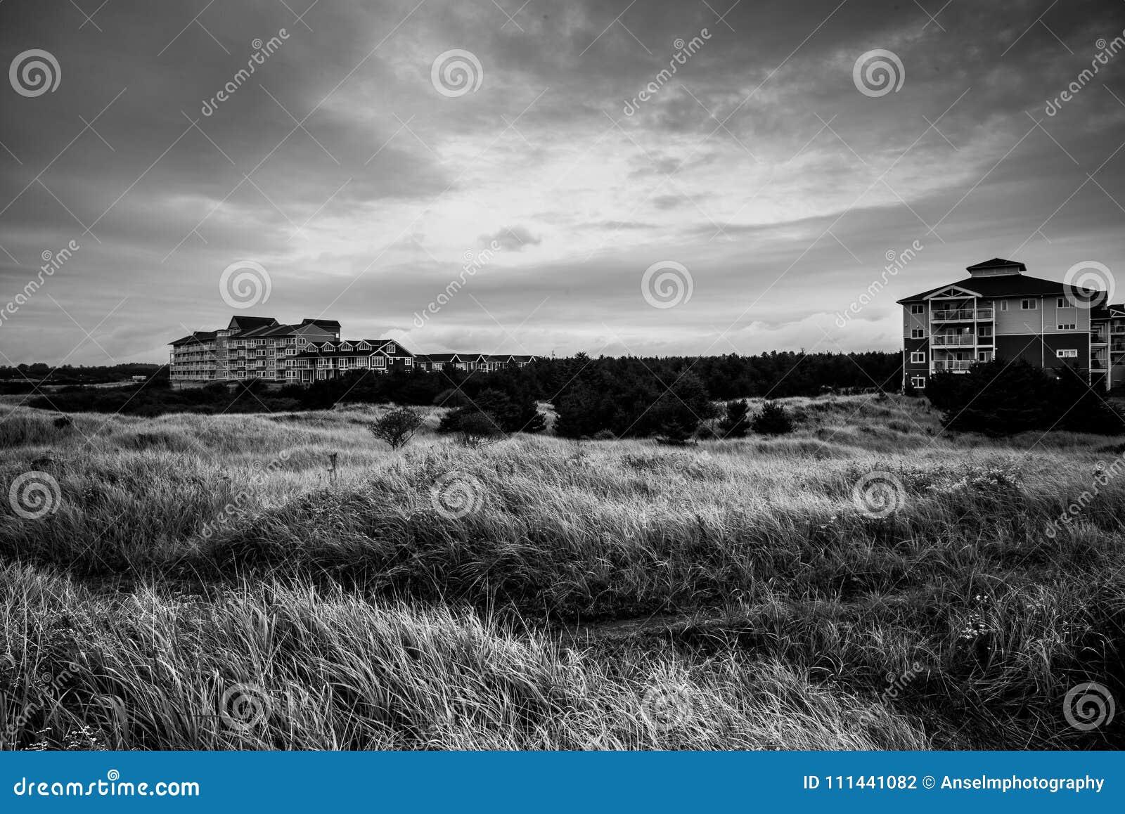 Uma construção solitária no horizonte atrás de um grande campo da grama alta na tempestade em Long Beach Washington em preto e br