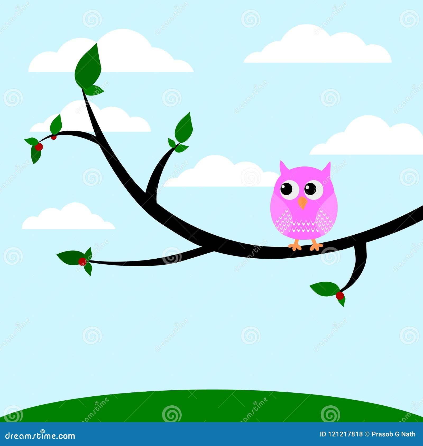Uma coruja bonito que senta-se em uma ilustração do vetor da árvore