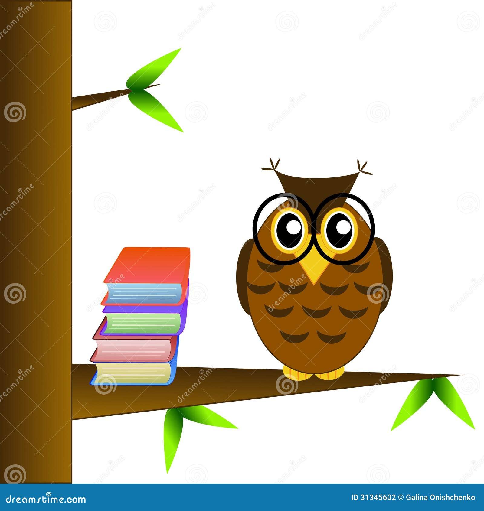 Uma Coruja Inteligente De Oculos Senta Se Em Uma Arvore Com Livros