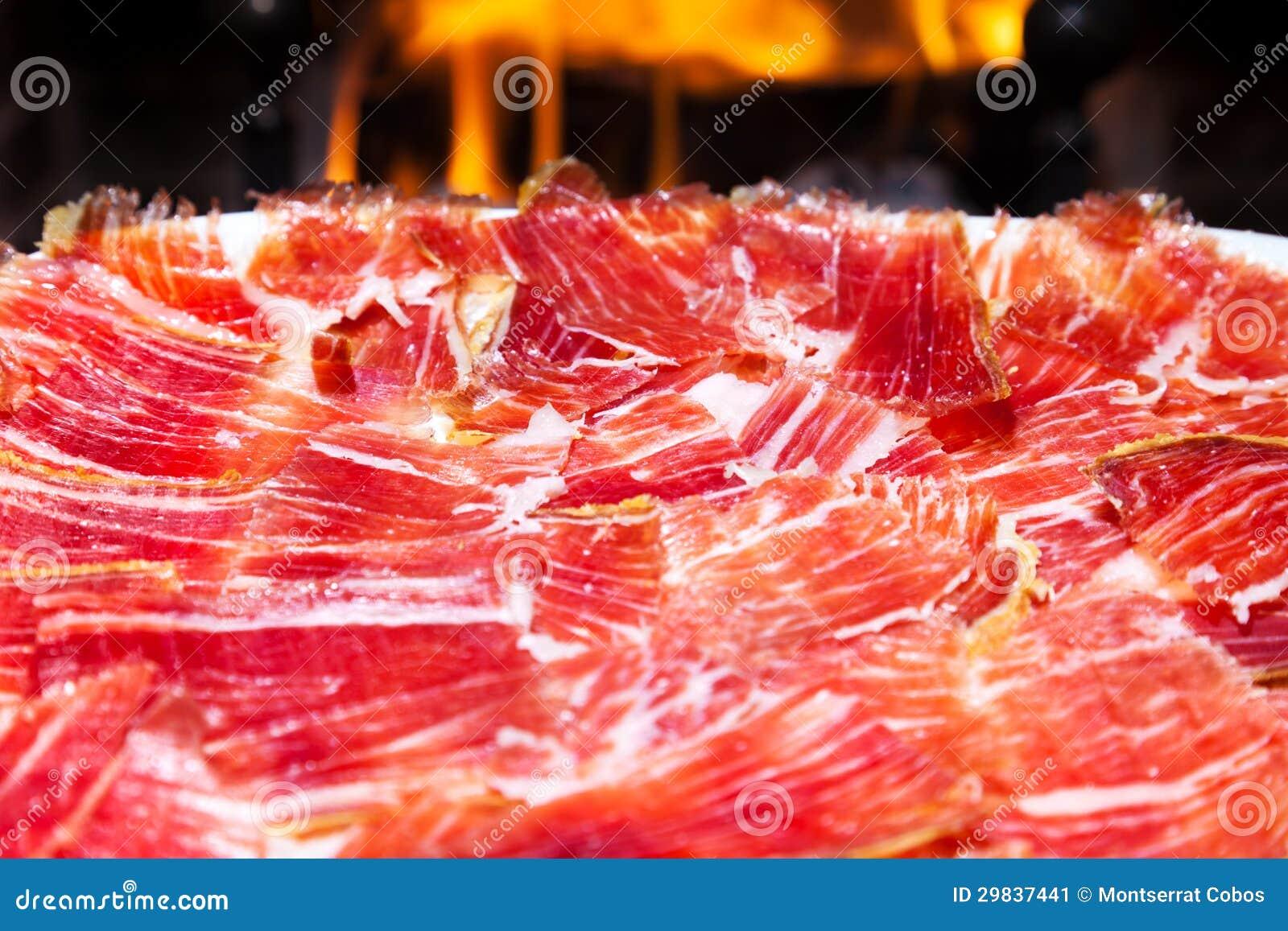 Placa do iberico espanhol do jamon
