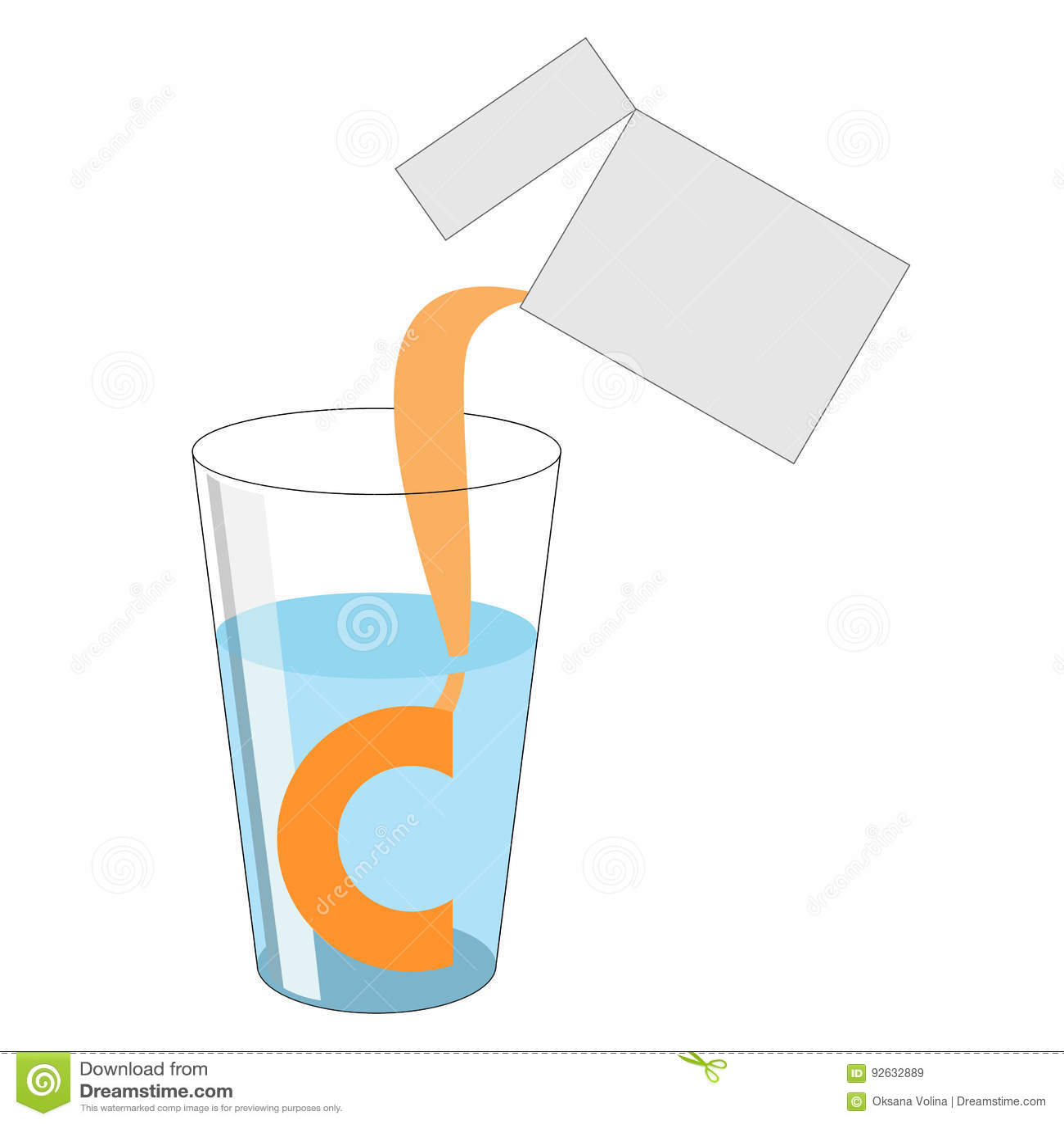 Uma dose do pó com vitamina C é derramada fora do pacote int