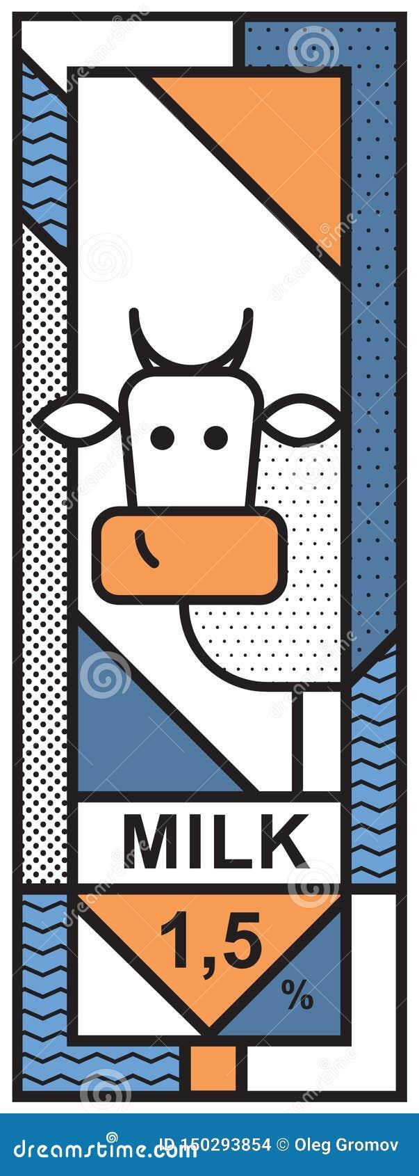 Uma etiqueta com uma imagem de uma vaca para o empacotamento de leite